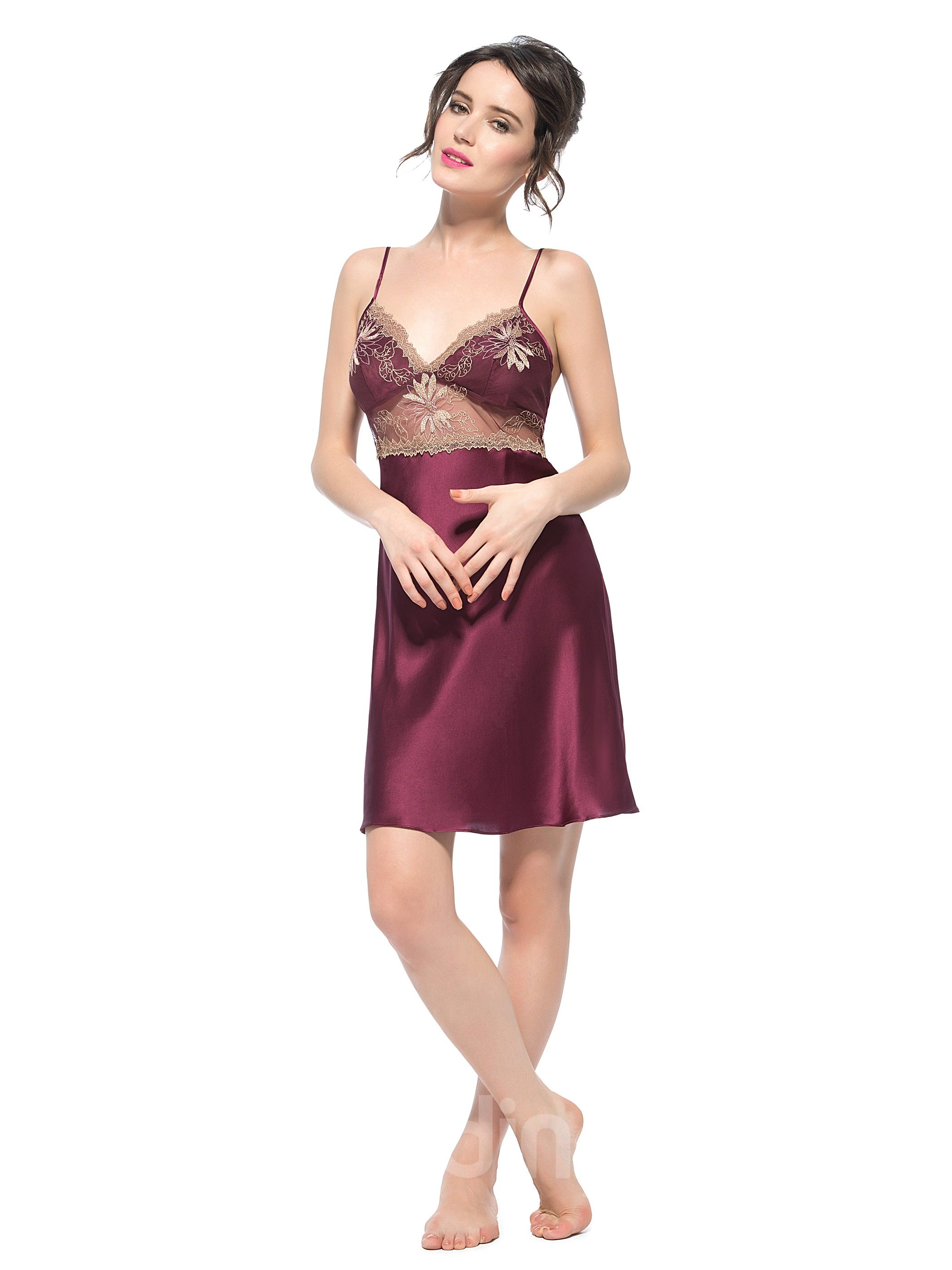 Best Selling Lace Trim Bust and See Through Waist Silk Chemise