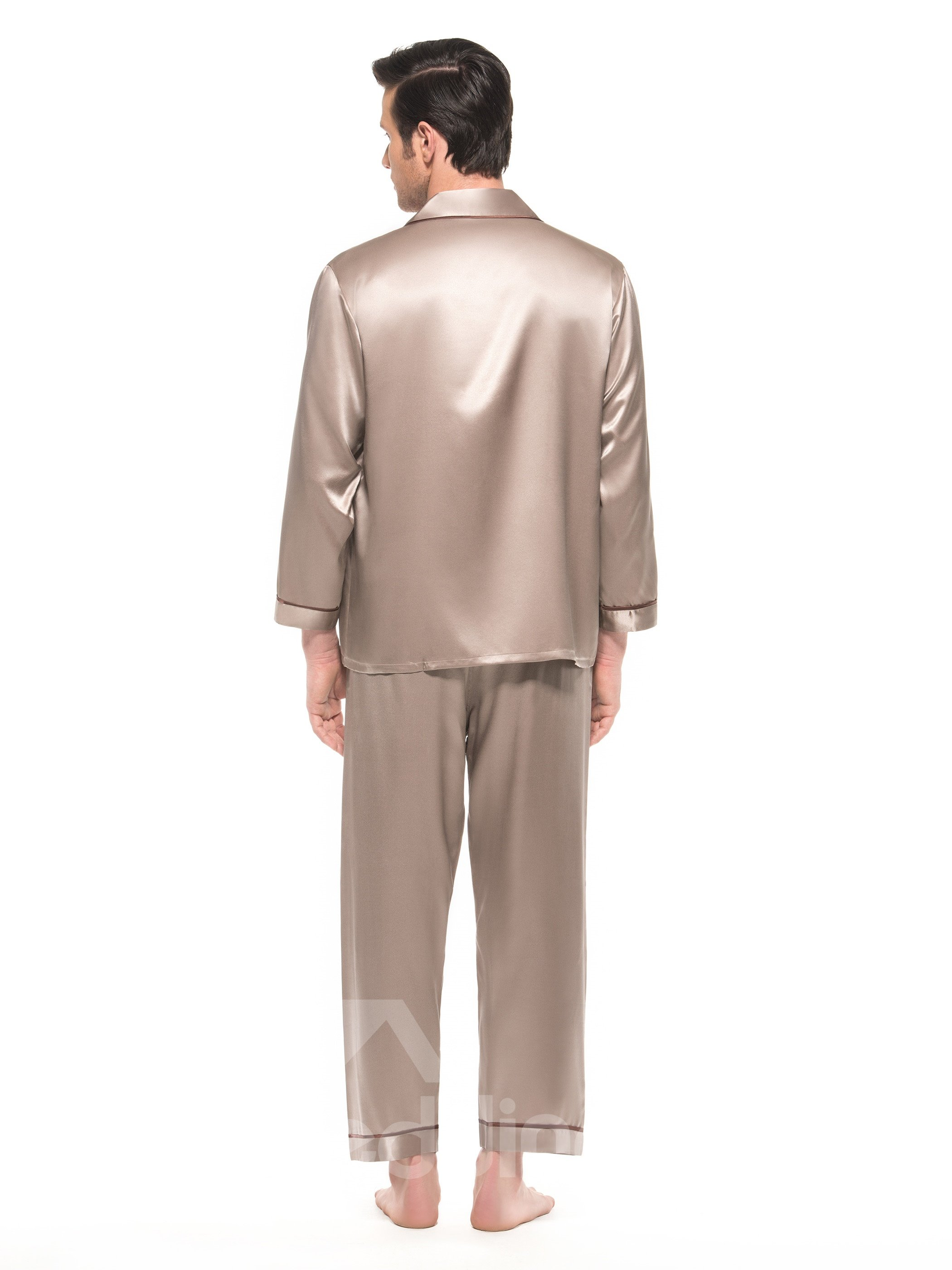 Long Sleeve Open Collar One Patch Pocket Silk Pajamas