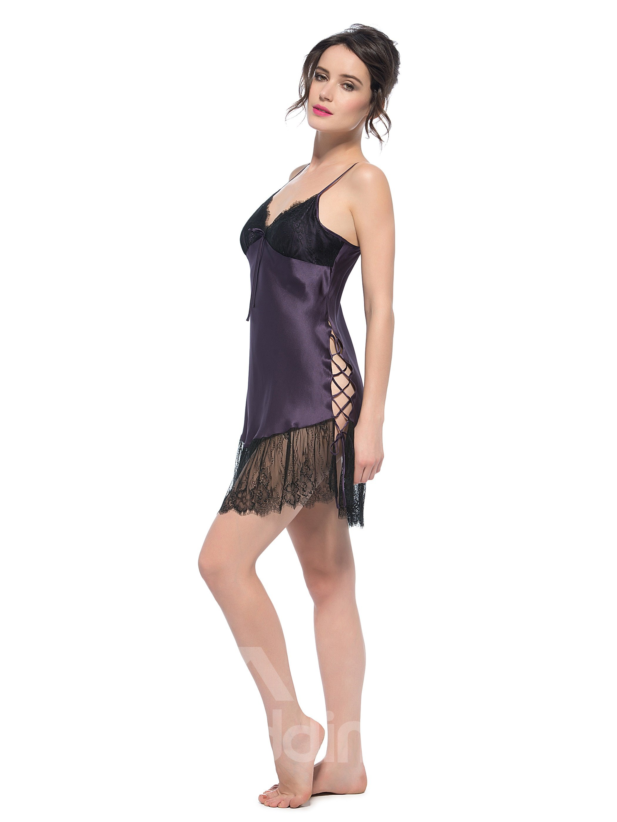 Swing Lace Hem and Strapped Up Side Vent Wide Chemise