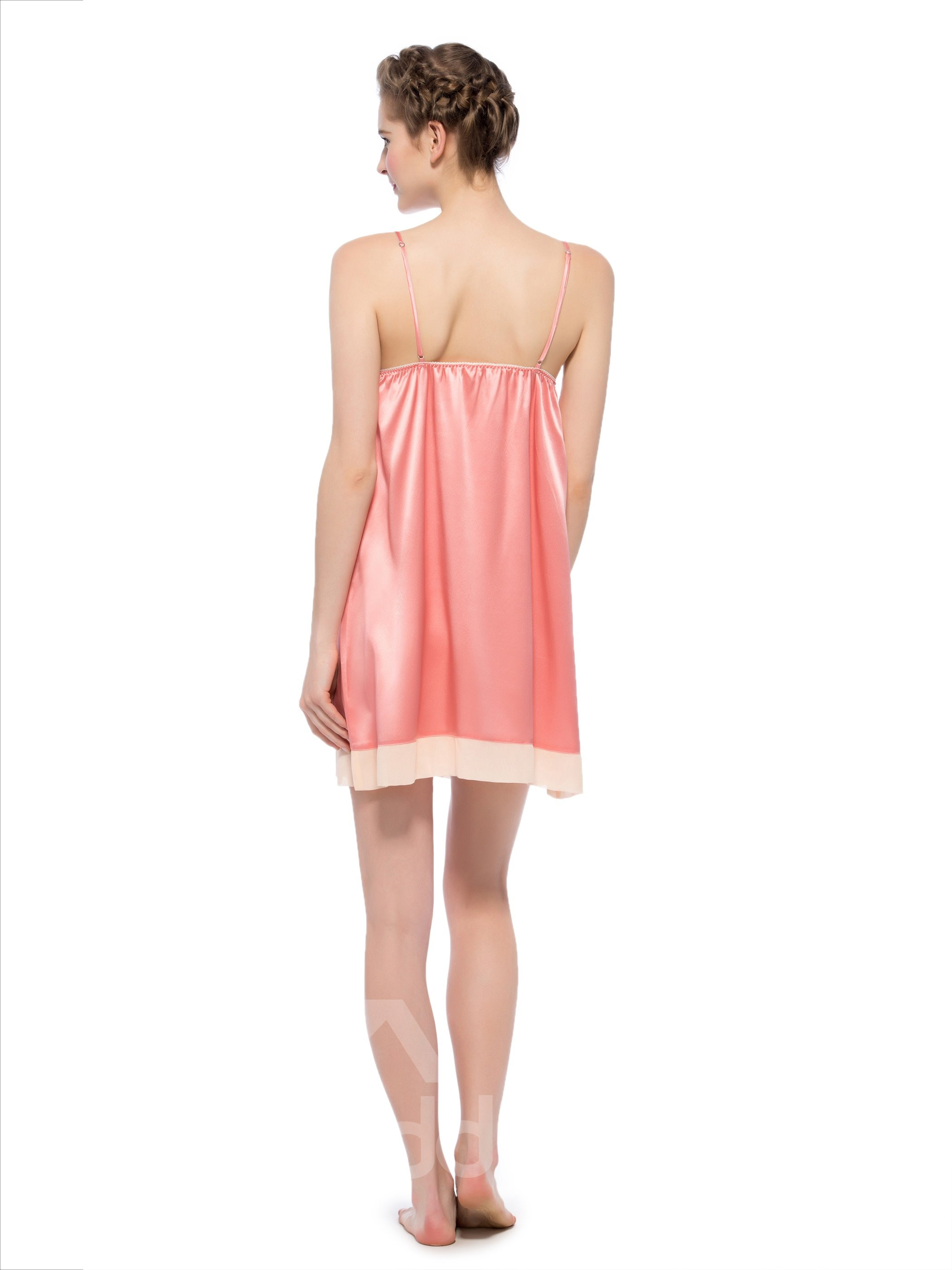 Lovely Pink Contra Trim Bust and Hem Bowknot Silk Chemise