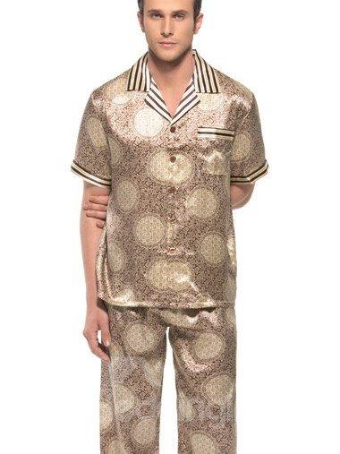 Unique Circle Pattern Open Collar Short Sleeve Silk Pajamas