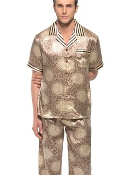 Unique Circle Pattern Open Collar Short Sleeve Silk Pajamas