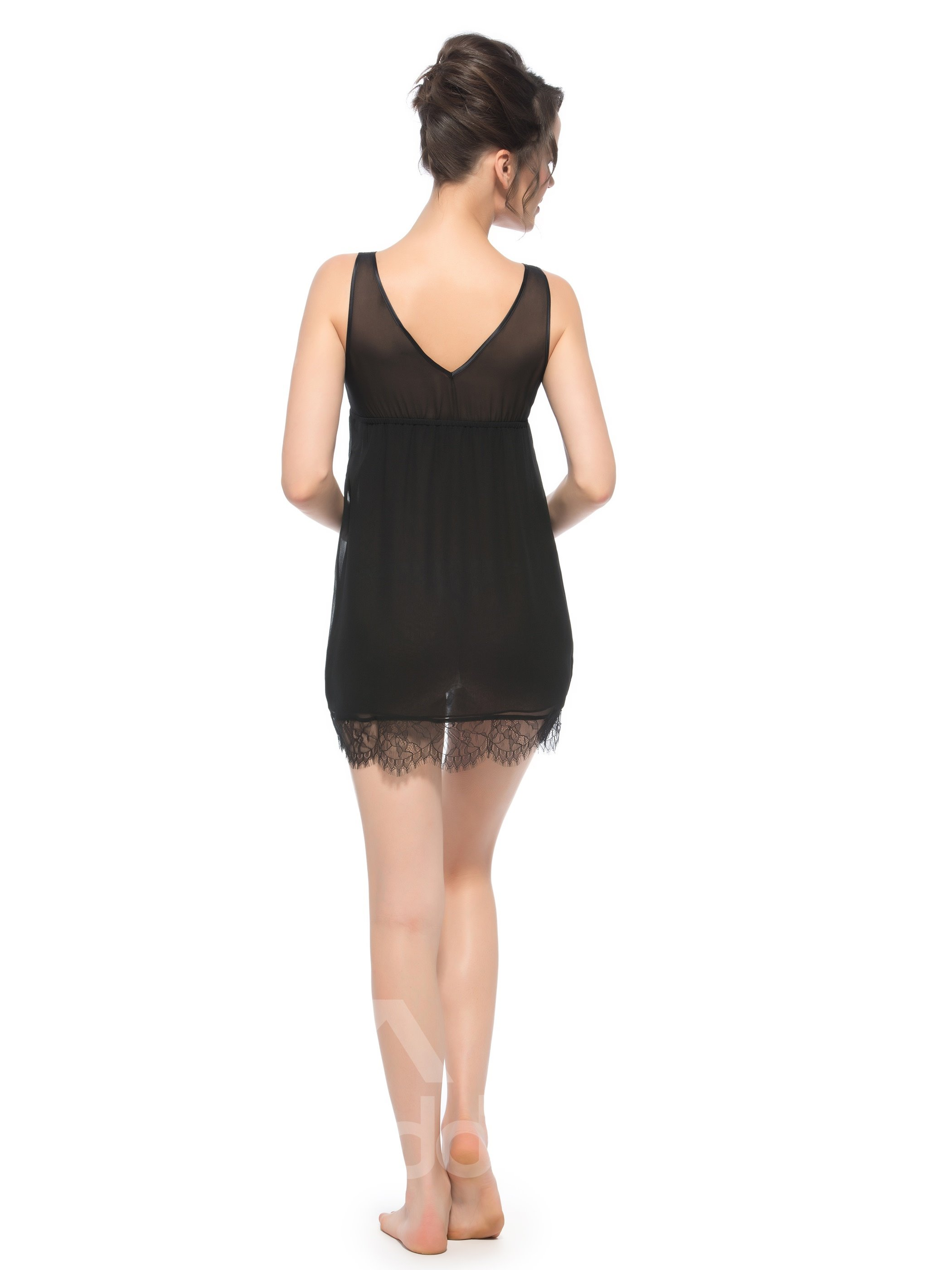 Loose Wide Shoulder Strap V Back Lace Around Bust Silk Chemise