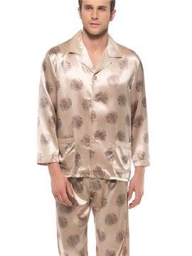 Stylish Floral Pattern Long Sleeve Two Pockets Silk Pajamas
