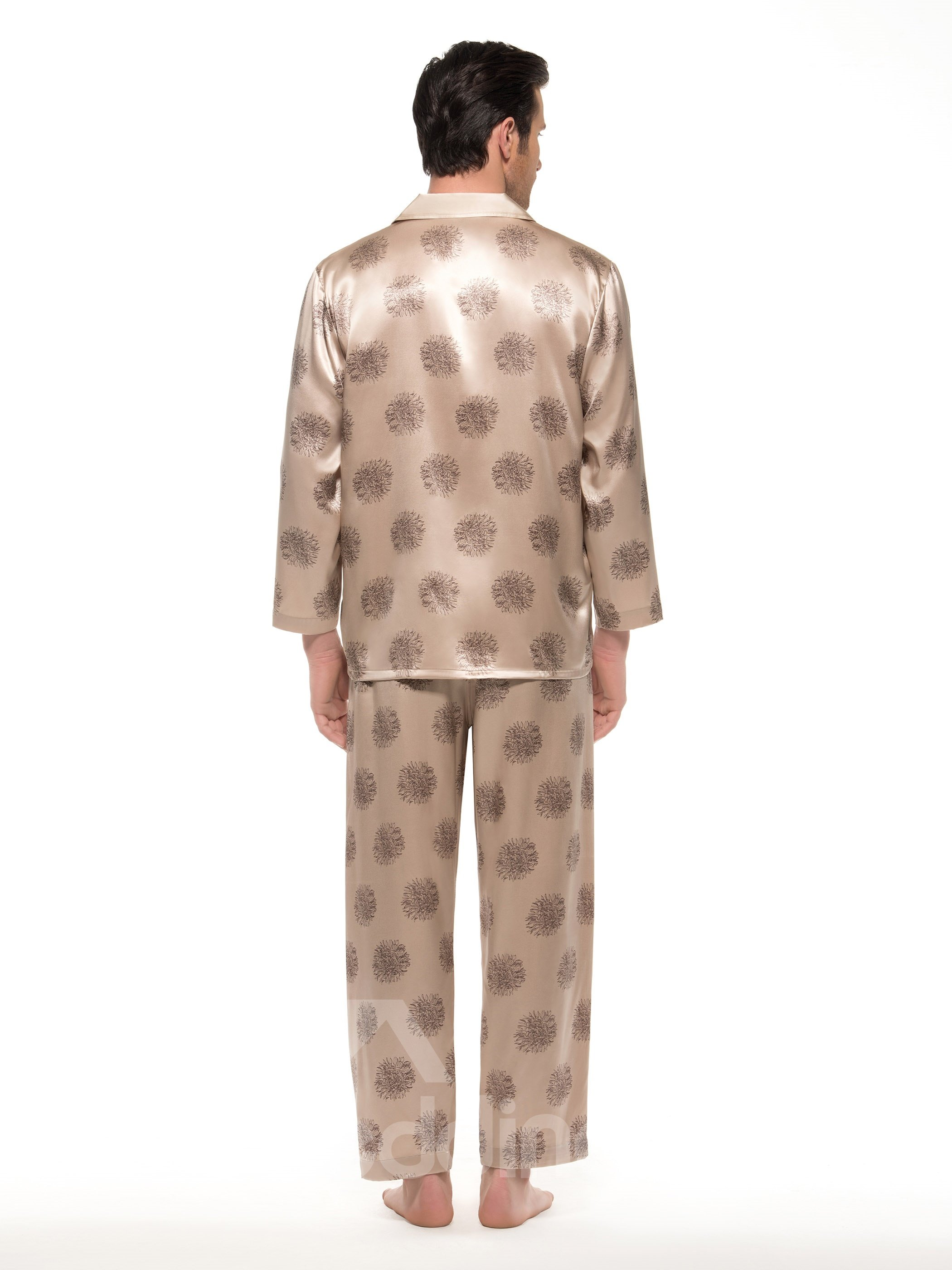 Stylish Floral Pattern Long Sleeve Two Pockets Silk Pajamas