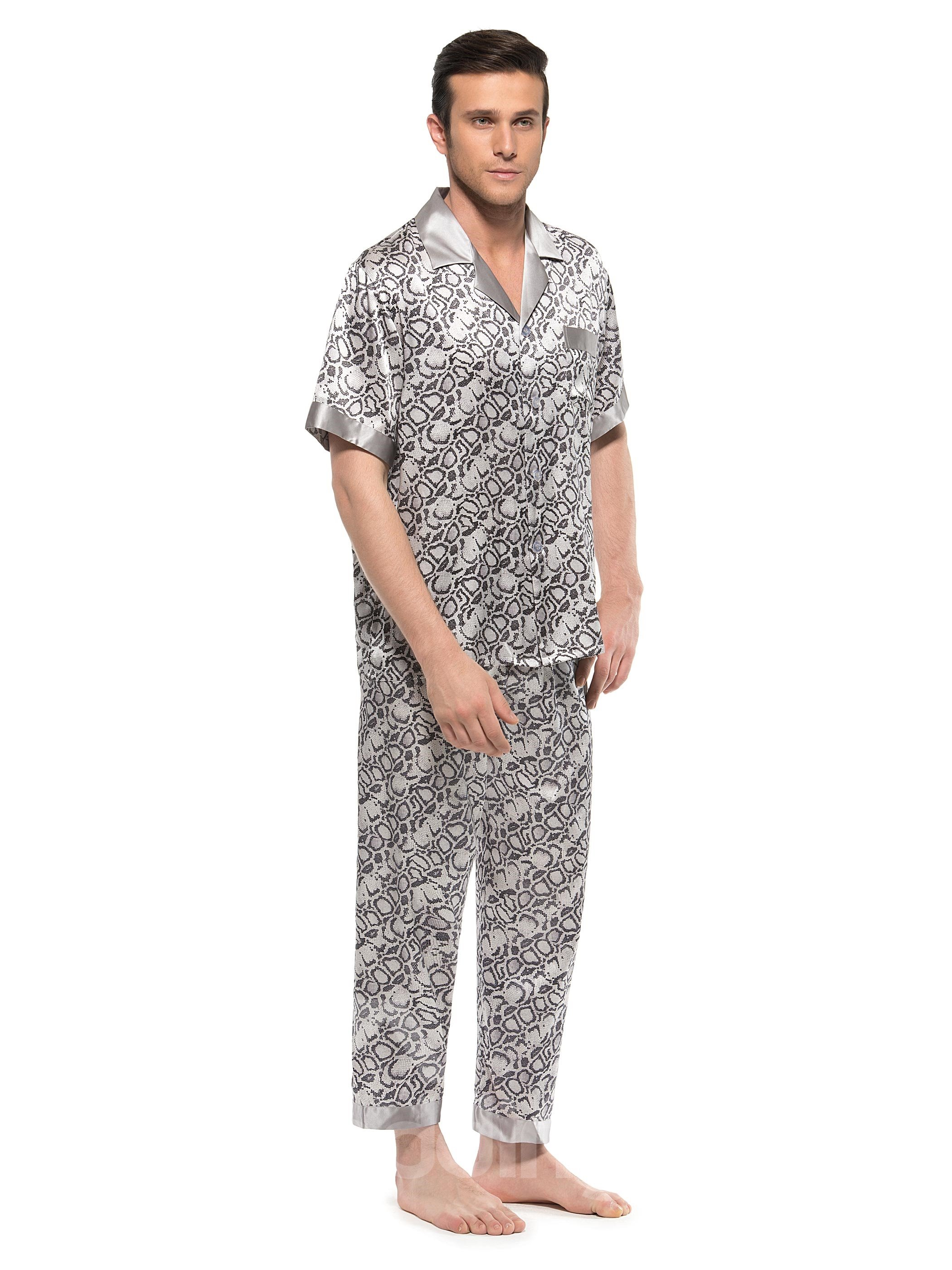 Stylish Snake Skin Pattern Short Sleeve Open Collar Silk Pajamas