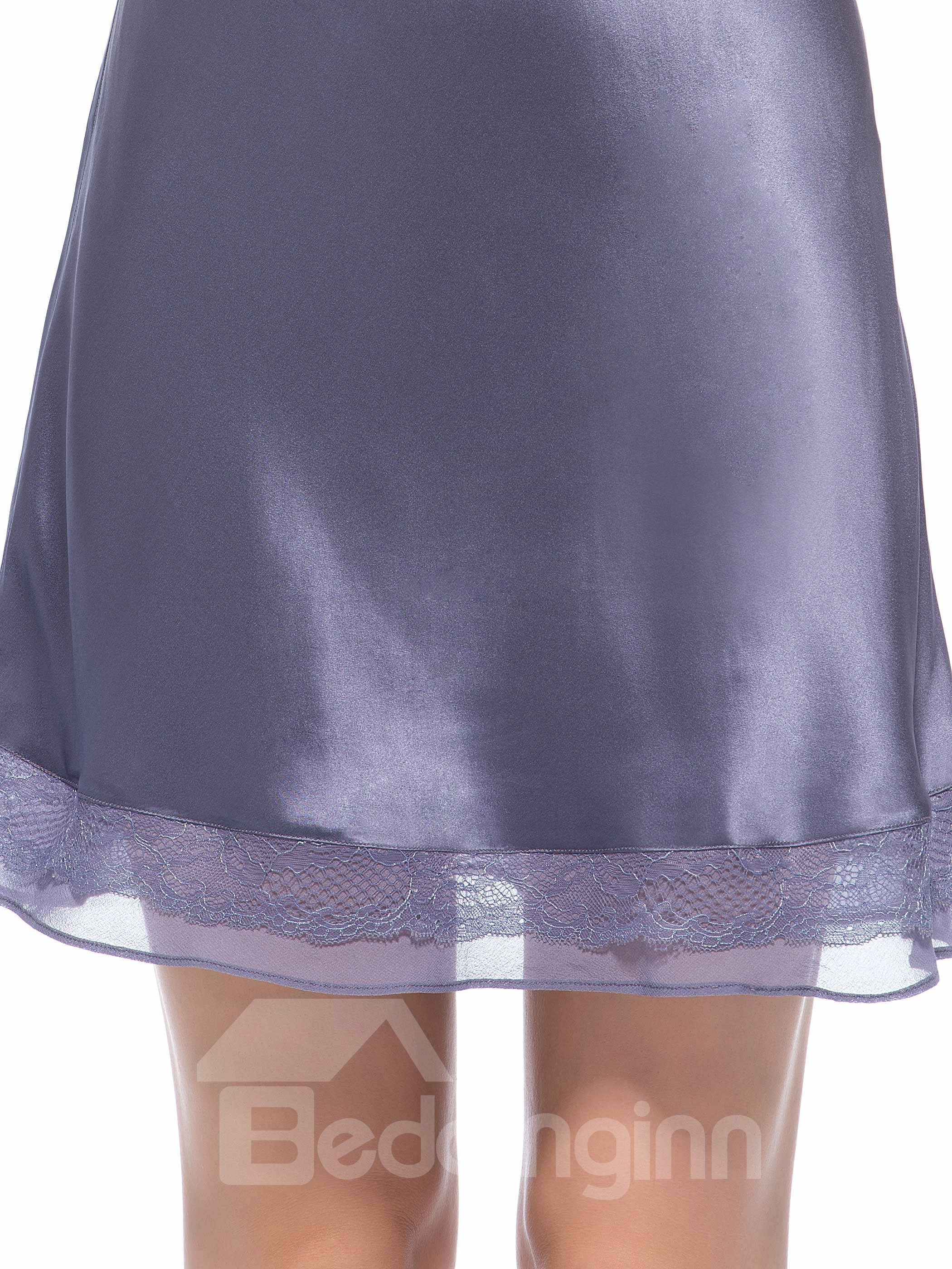 Fancy Lace Strap and Hem Embroidery Between Bust Silk Chemise
