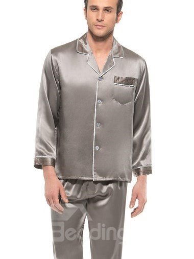 Unique Embroidery Edge Open Collar Men Silk Pajamas