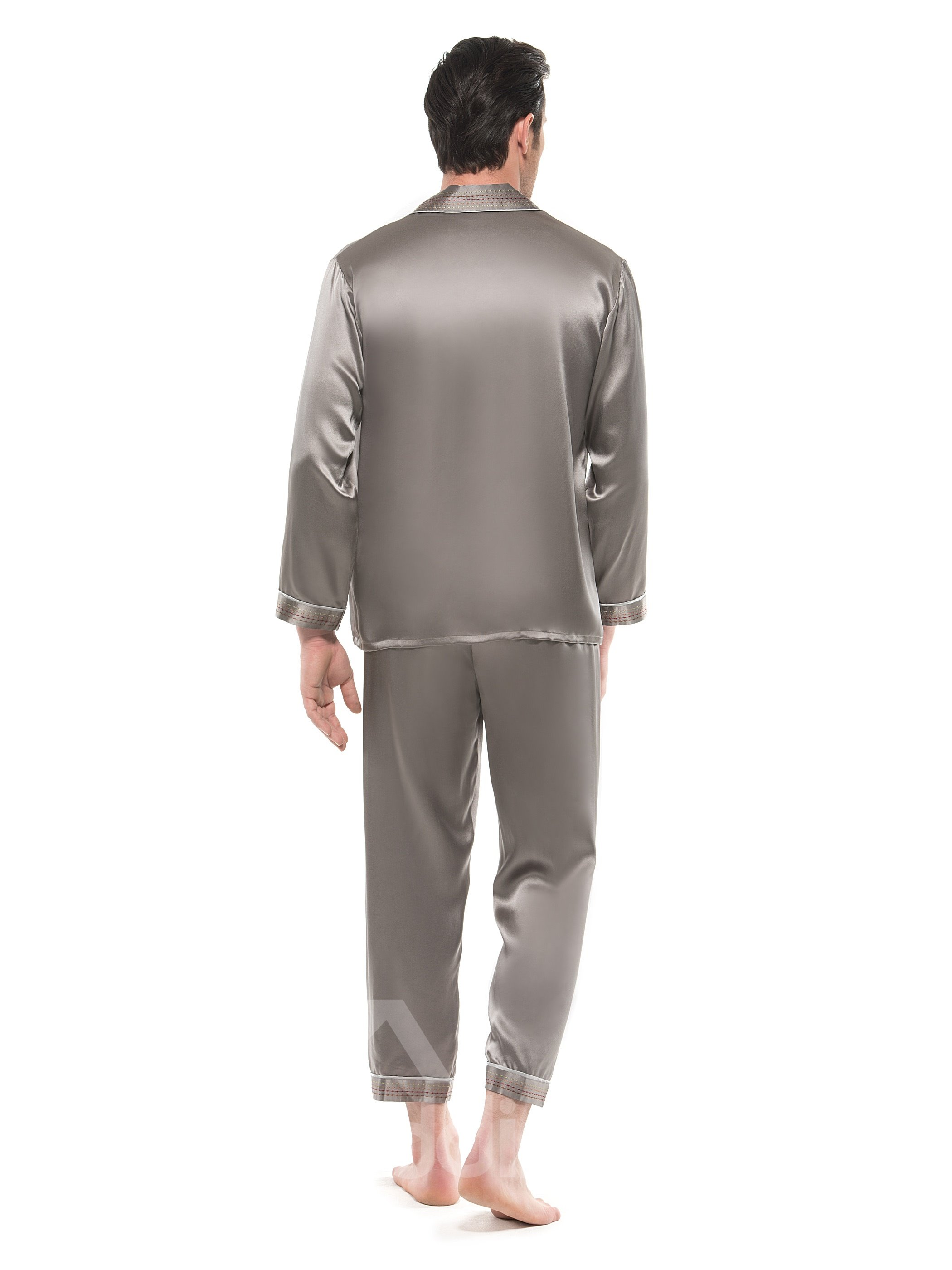 Unique Embroidery Edge Open Collar Men Silk Pajamas