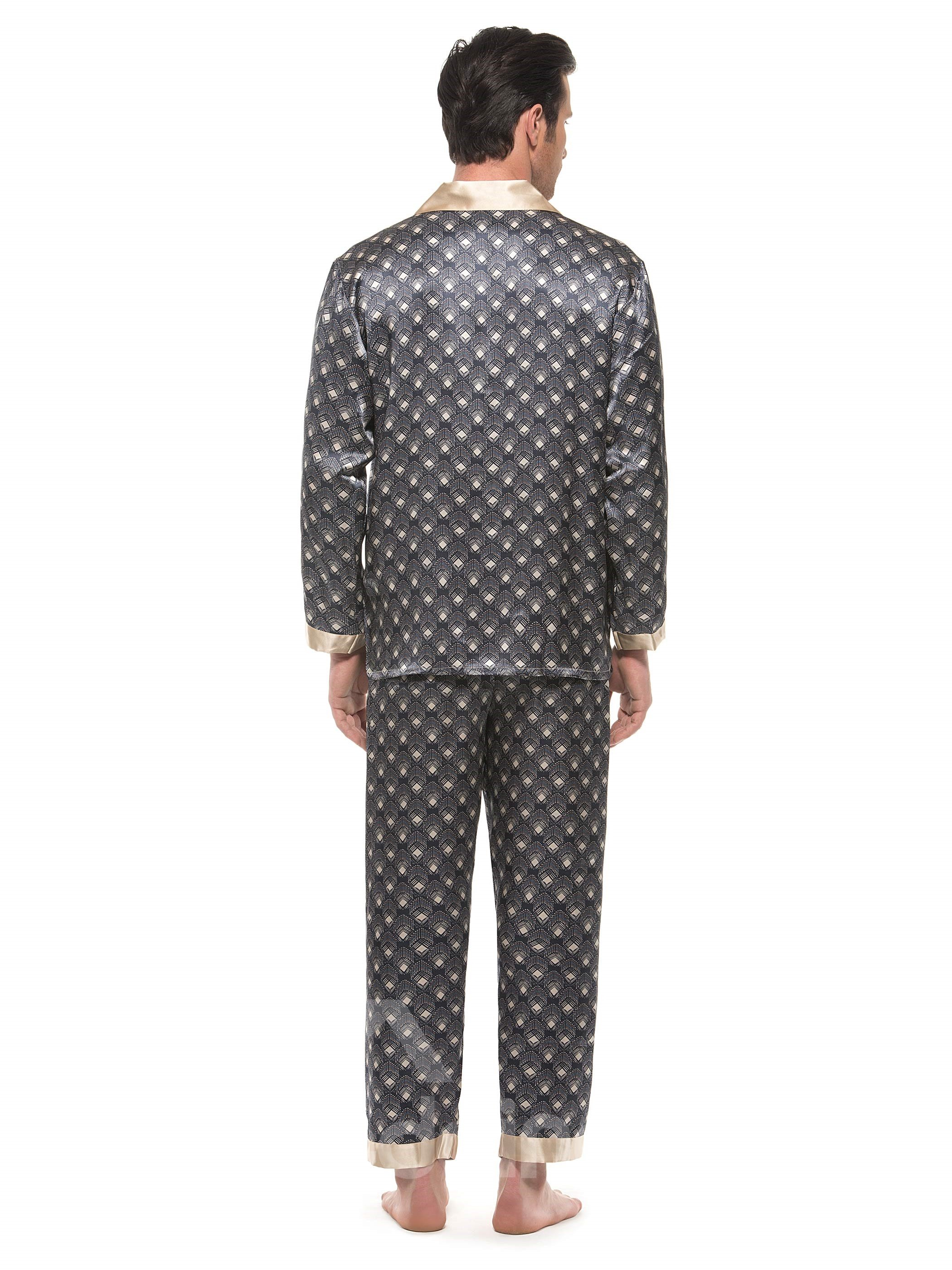 Classic Design Open Collar Patch Pocket Mulberry Silk Pajamas