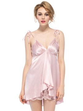 Sweety Bow Tie Strap Wave Front Deep V Bust and Back Silk Chemise