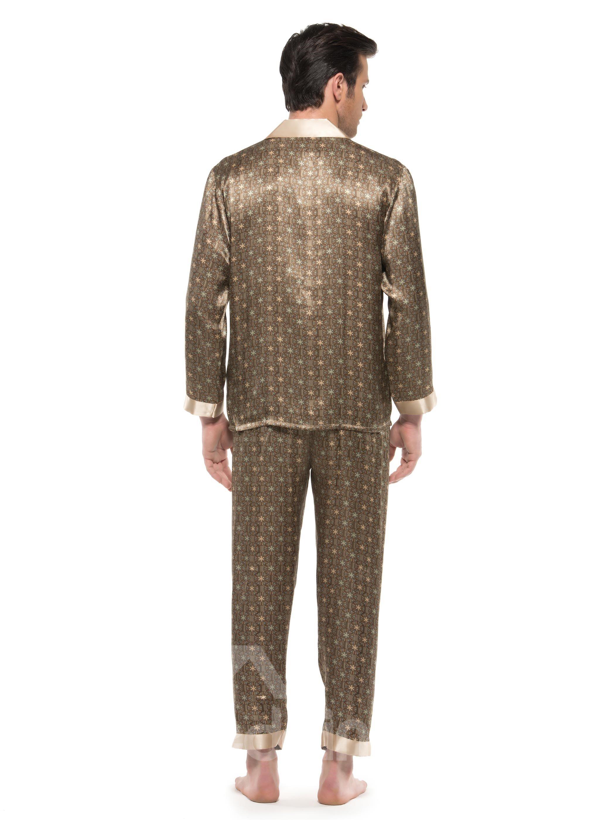 Fantastic Casual Wheels Open Collar Patch Pocket Silk Pajamas