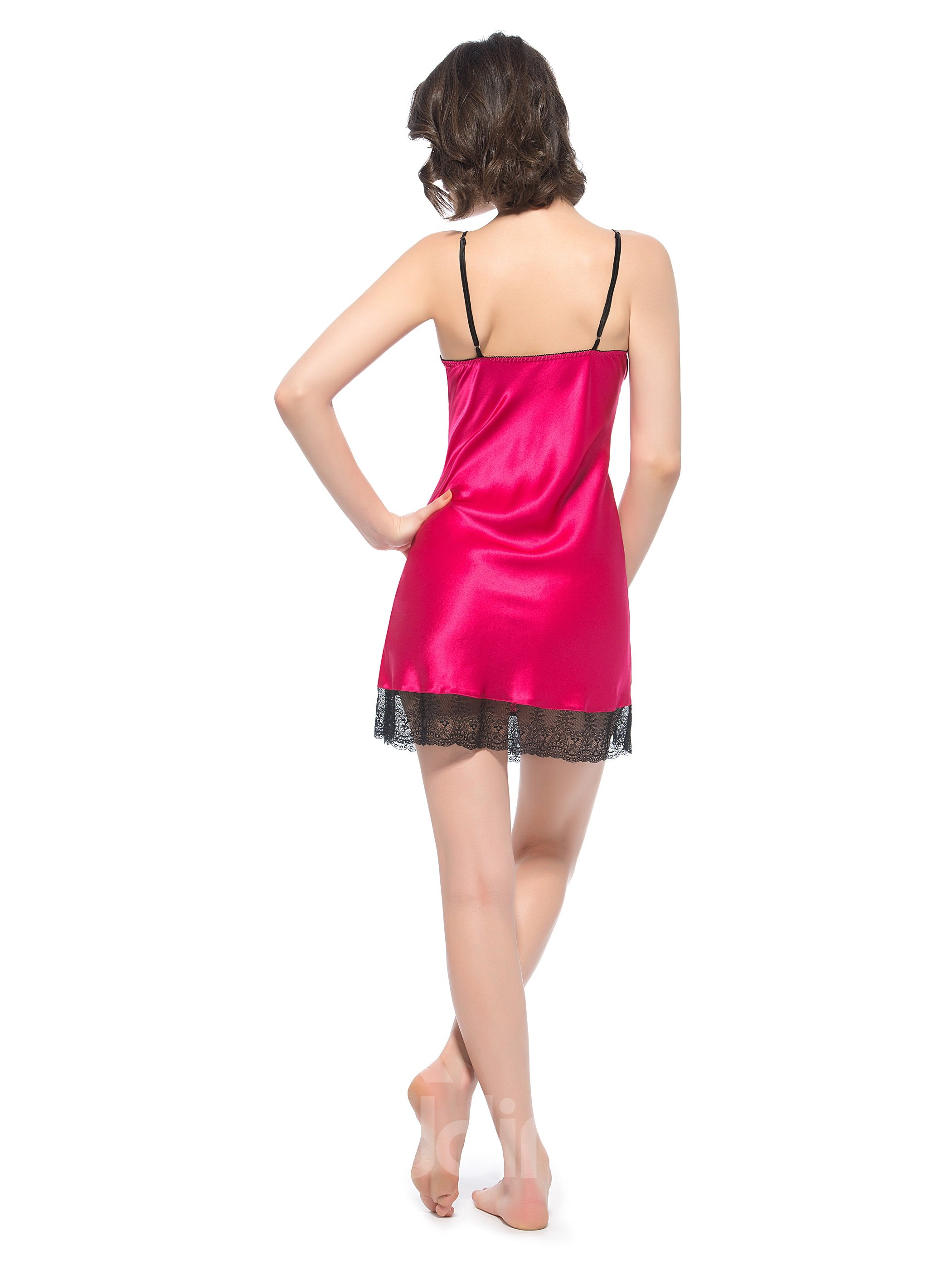 Double Edge Lace Trim Bust Lace Hem Silk Chemise