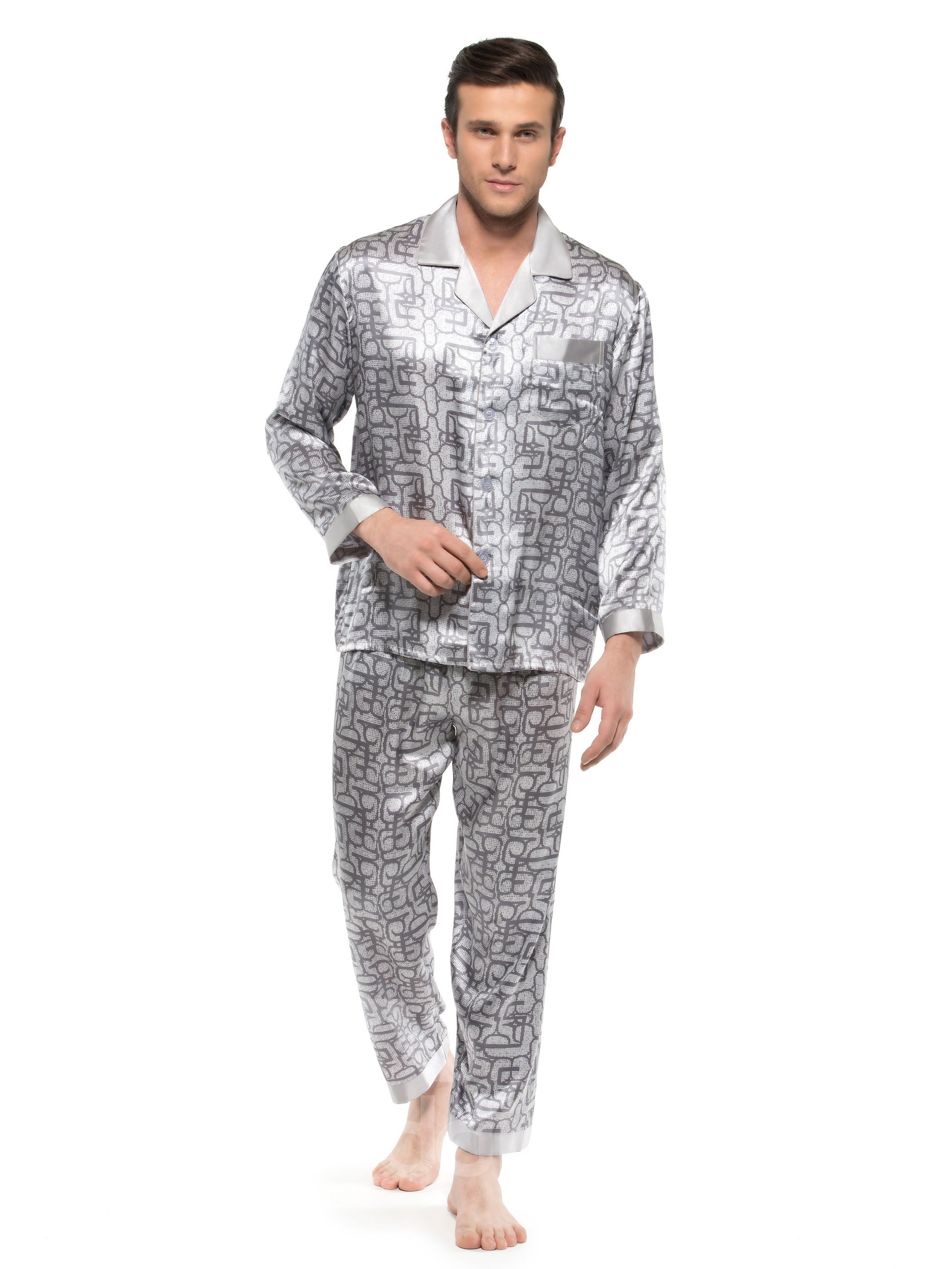 Fantastic Casual Silver Open Collar Patch Pocket Silk Men Pajamas