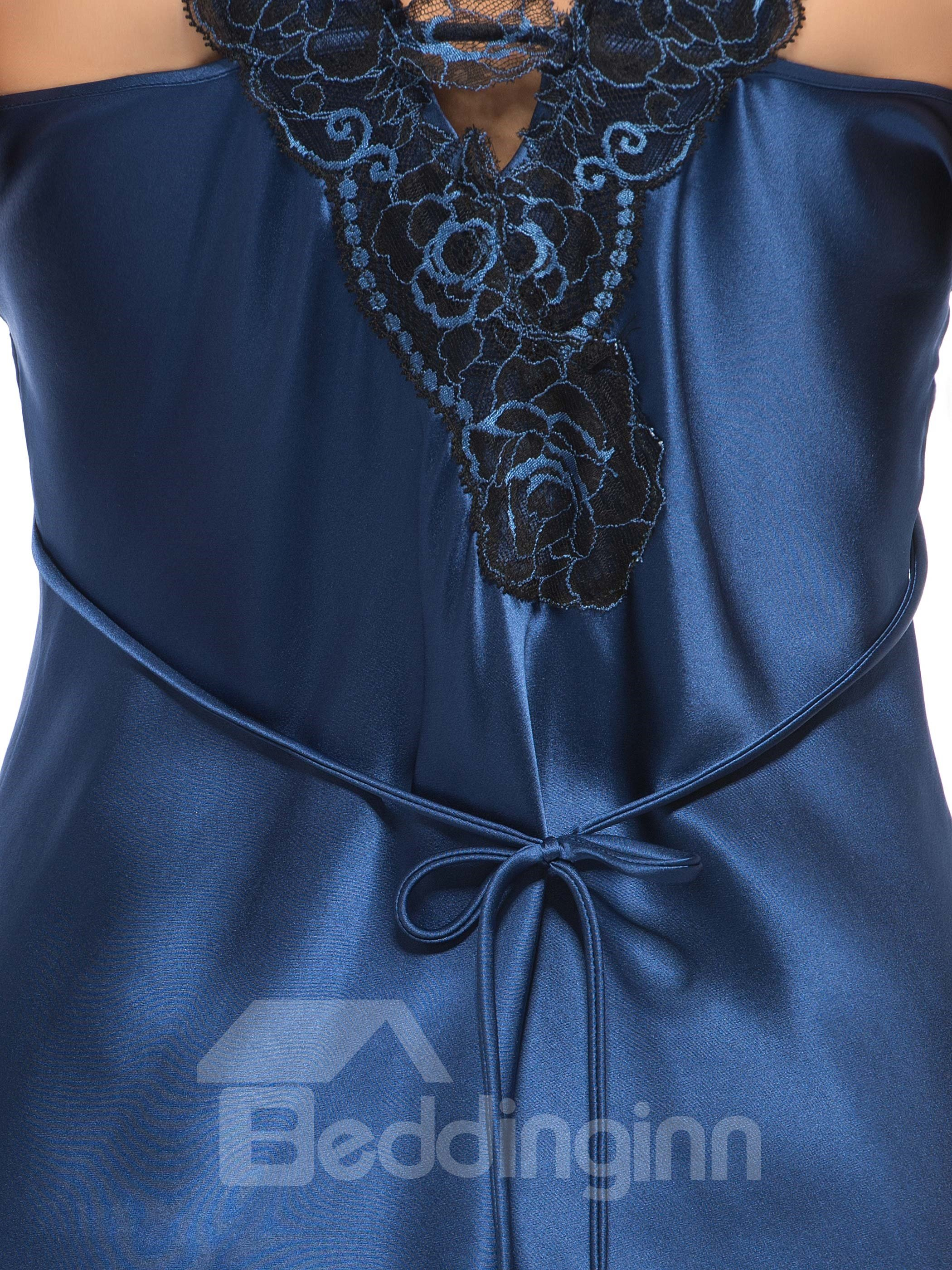 Sexy Dark Blue Flower Embroidery Lace Straps Silk Chemise