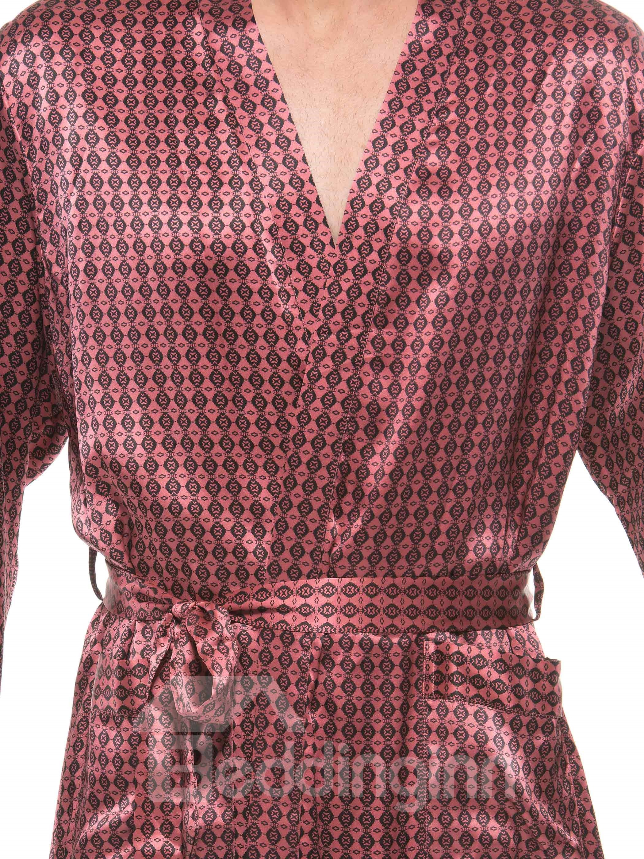 Stylish Burgundy Floral Patterns Flat Collar Belted Mulberry Silk Robe
