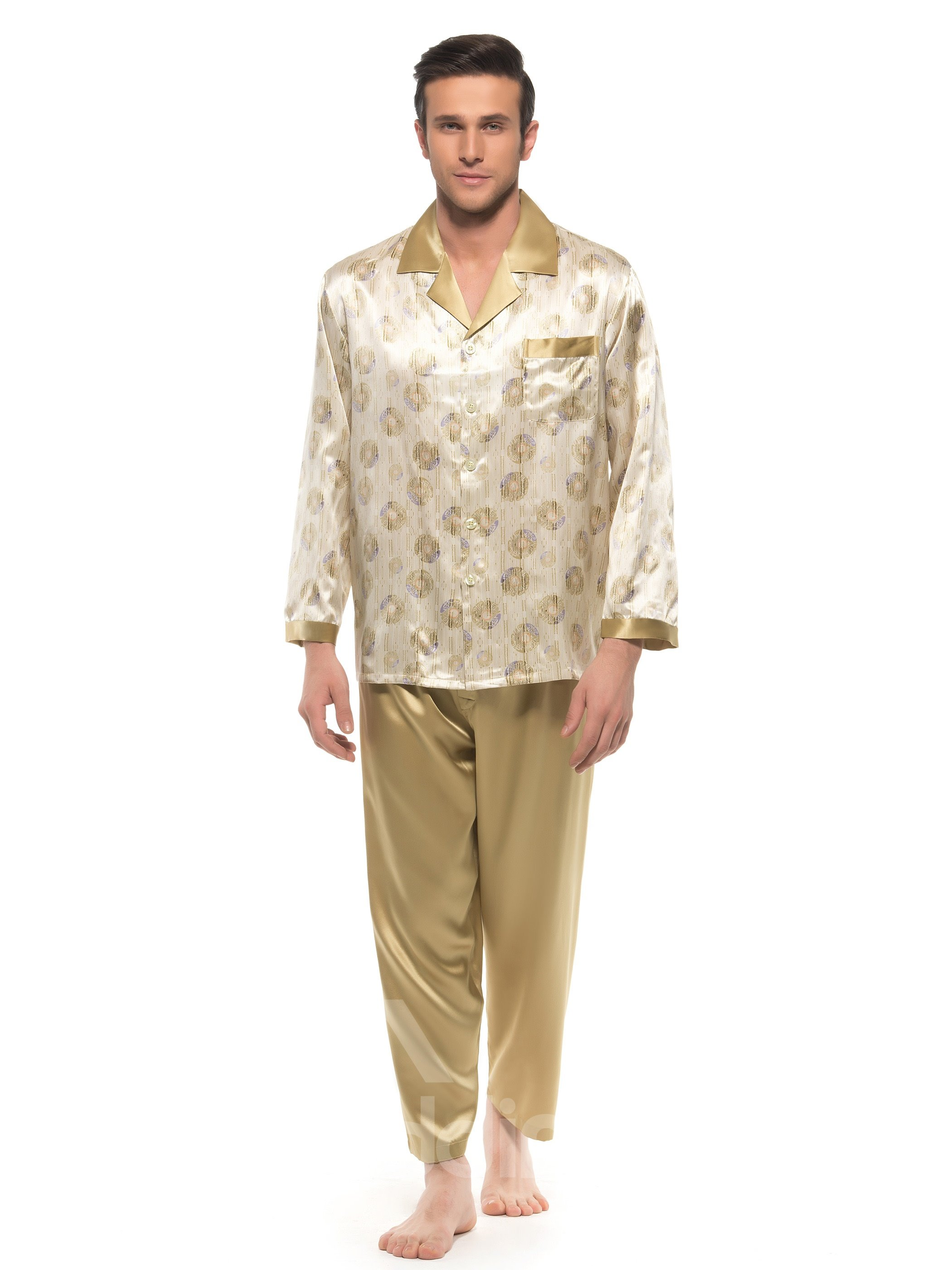 Quality Khaki Floral Pattern One Pocket Long Sleeve Silk Pajamas