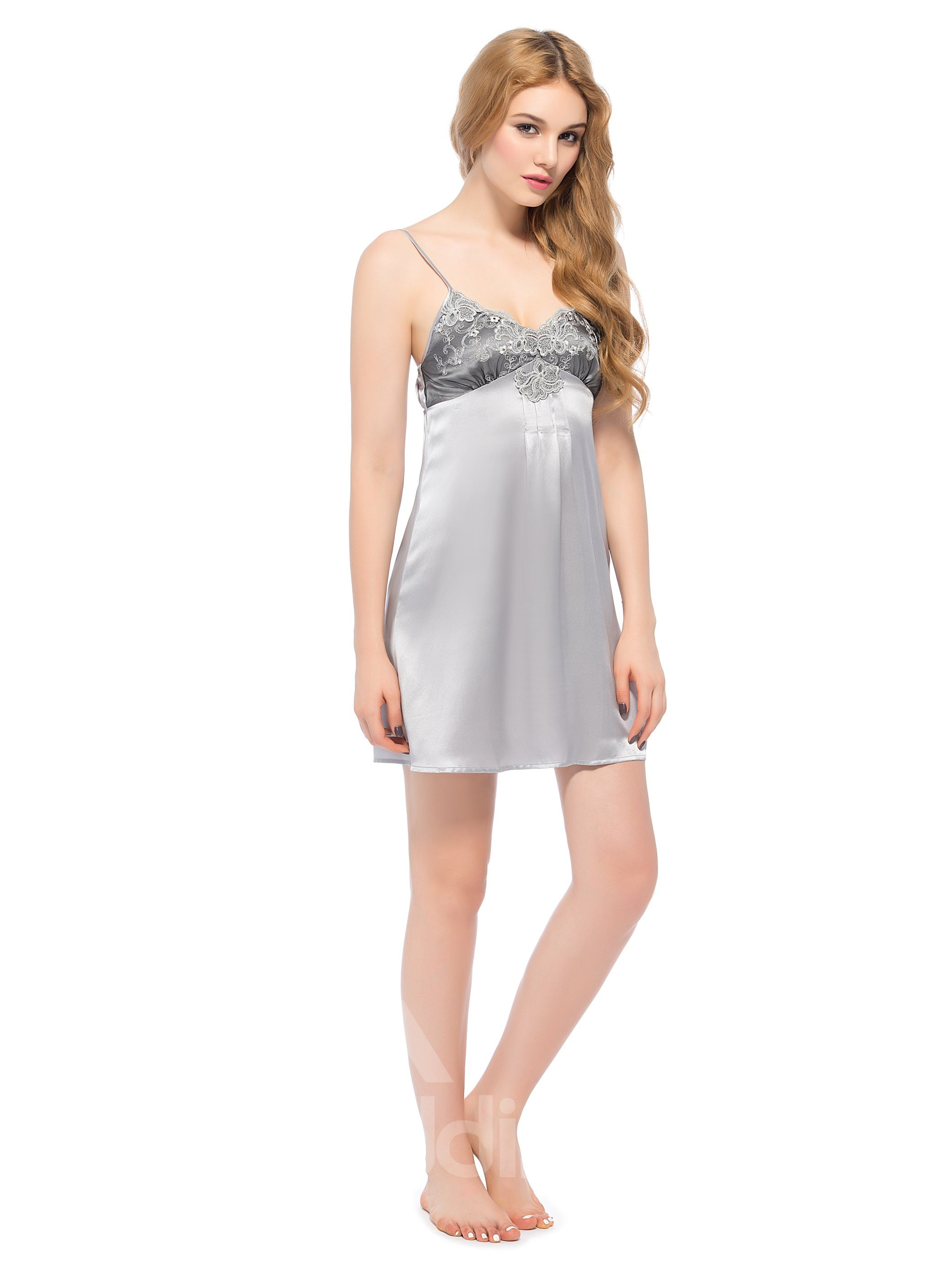 Lace Bust Flower Embroidery Spaghetti Strap Gray Silk Chemise