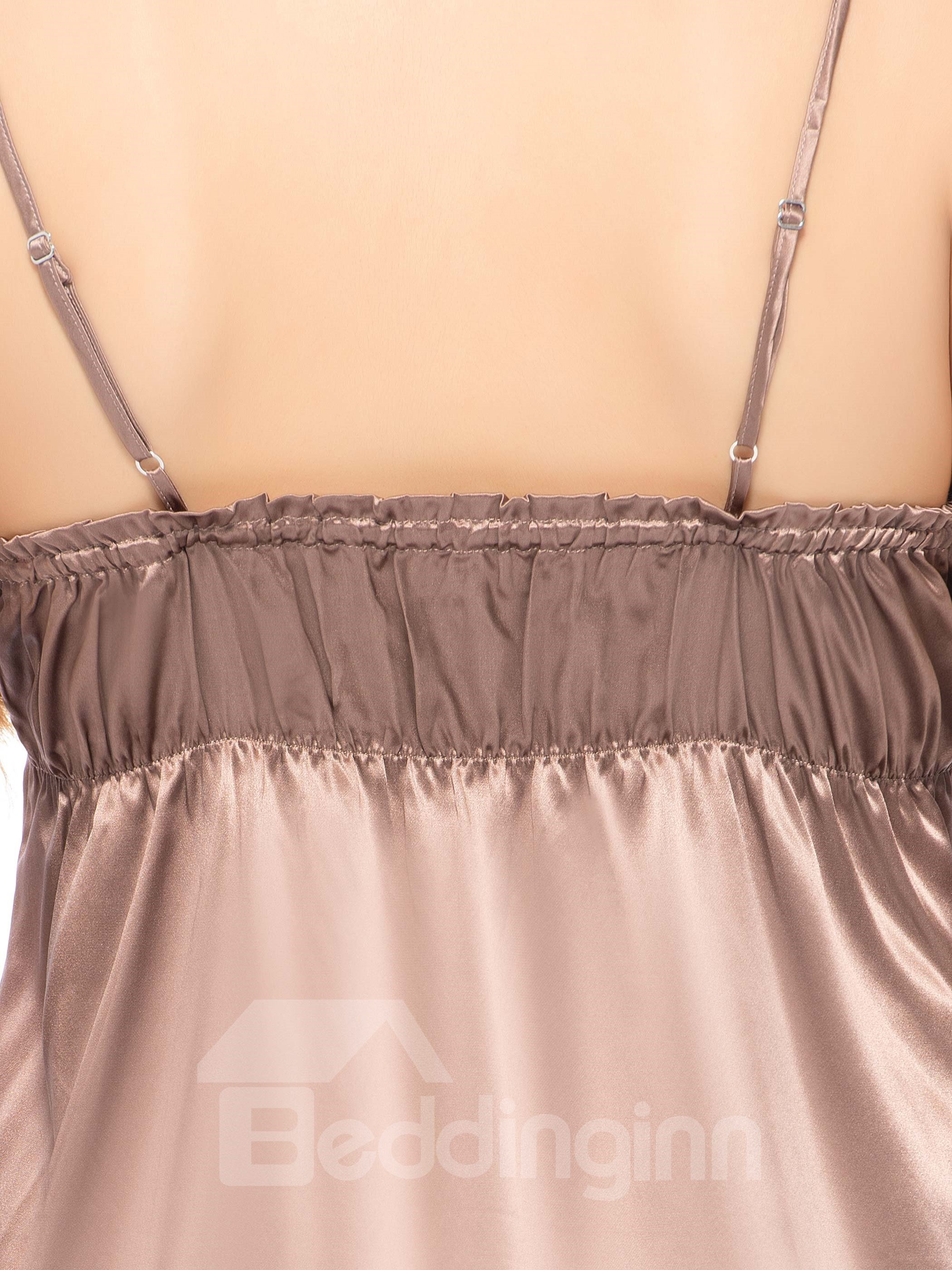 Beautiful Flower Embroidery Trim Front and Stretch Waist Silk Chemise
