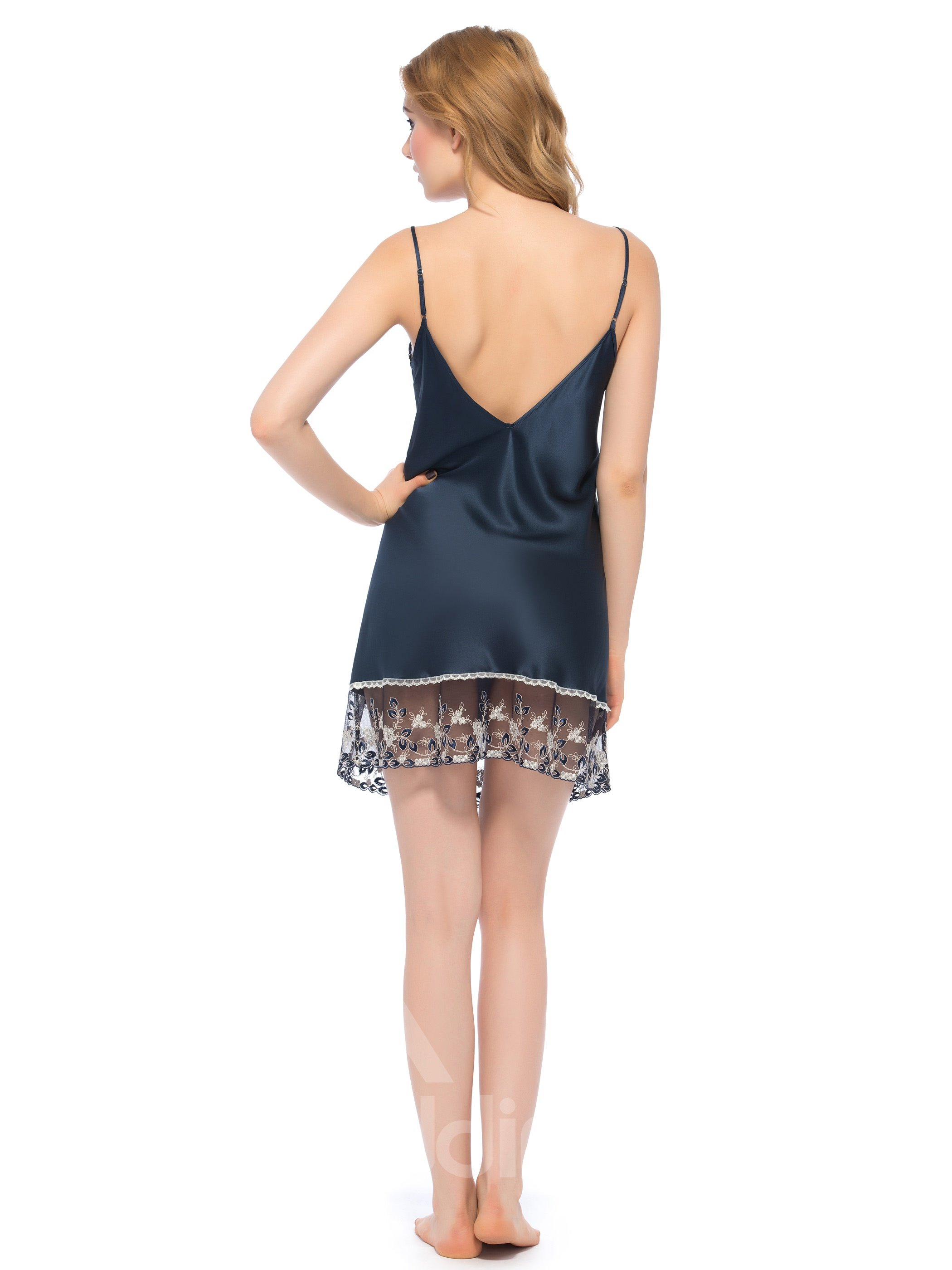 Luxury Deep V Back Lace Trim Bust and Hem Silk Chemise