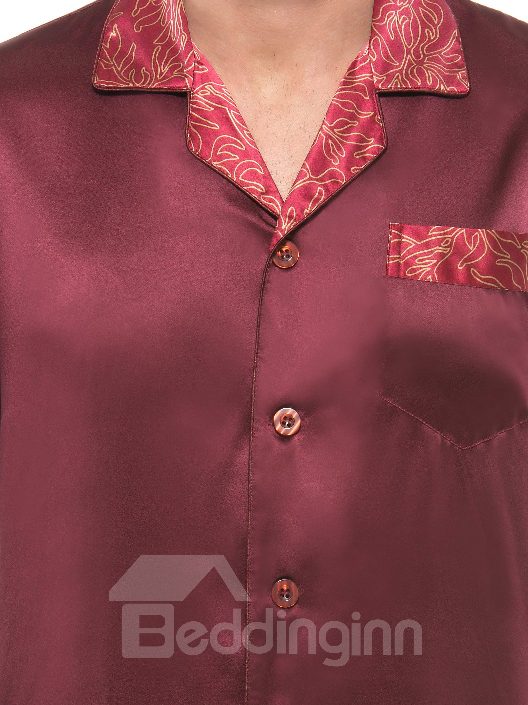 Burgundy Open Collar Floral Trim  Long Sleeve Silk Pajama set