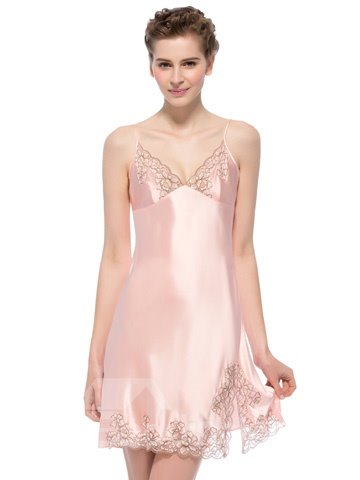 Elegant Deep-V Flowers Lace Trim Mulberry Silk Chemise