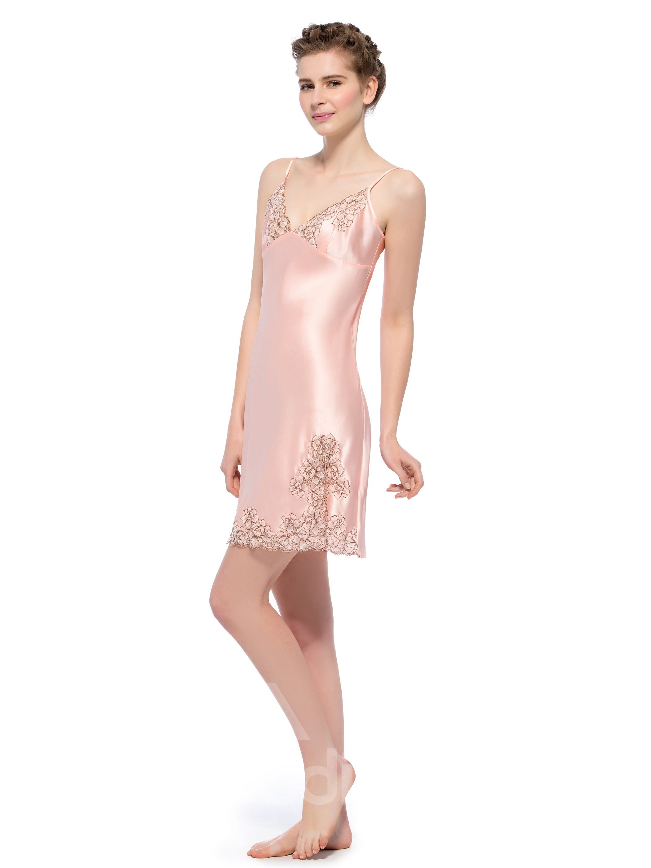 Elegant Deep-V Flowers Lace Trim Mulberry Silk Chemise