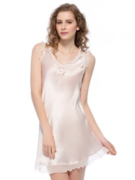 Skin Pink Trim Floating Hem Mulberry Silk Chemise