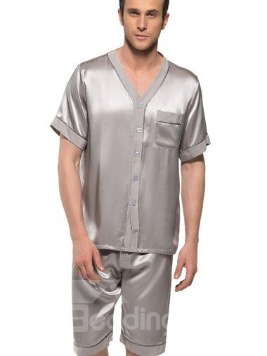 Luxury Sliver Pure Color Flat Collar Half Sleeve Silk Pajamas
