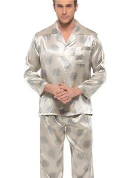 Elegant Chrysanthemum Patterns Open Collar Long Sleeve Silk Pajamas