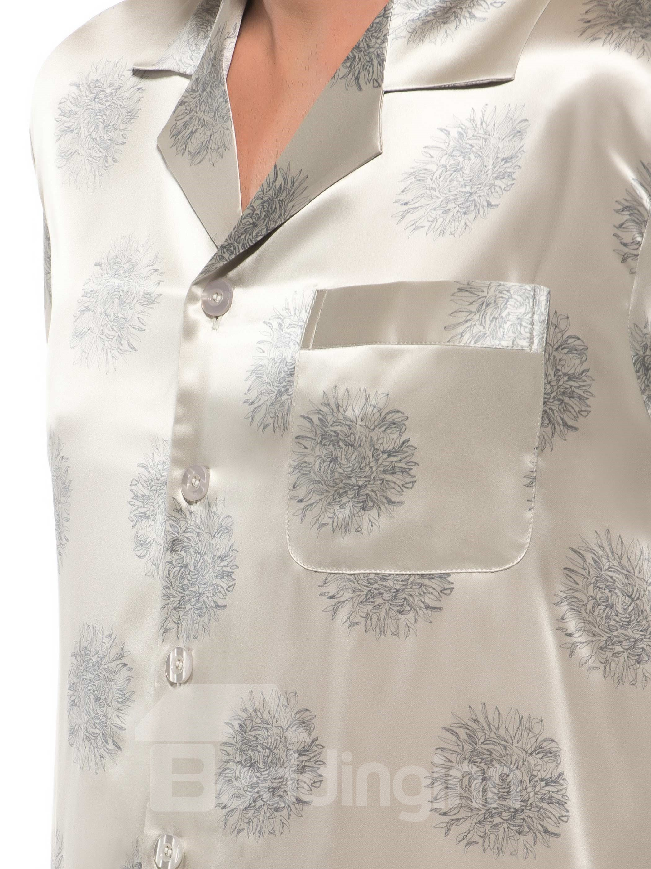 Elegant Chrysanthemum Patterns Open Collar Long Sleeve Silk Pajamas