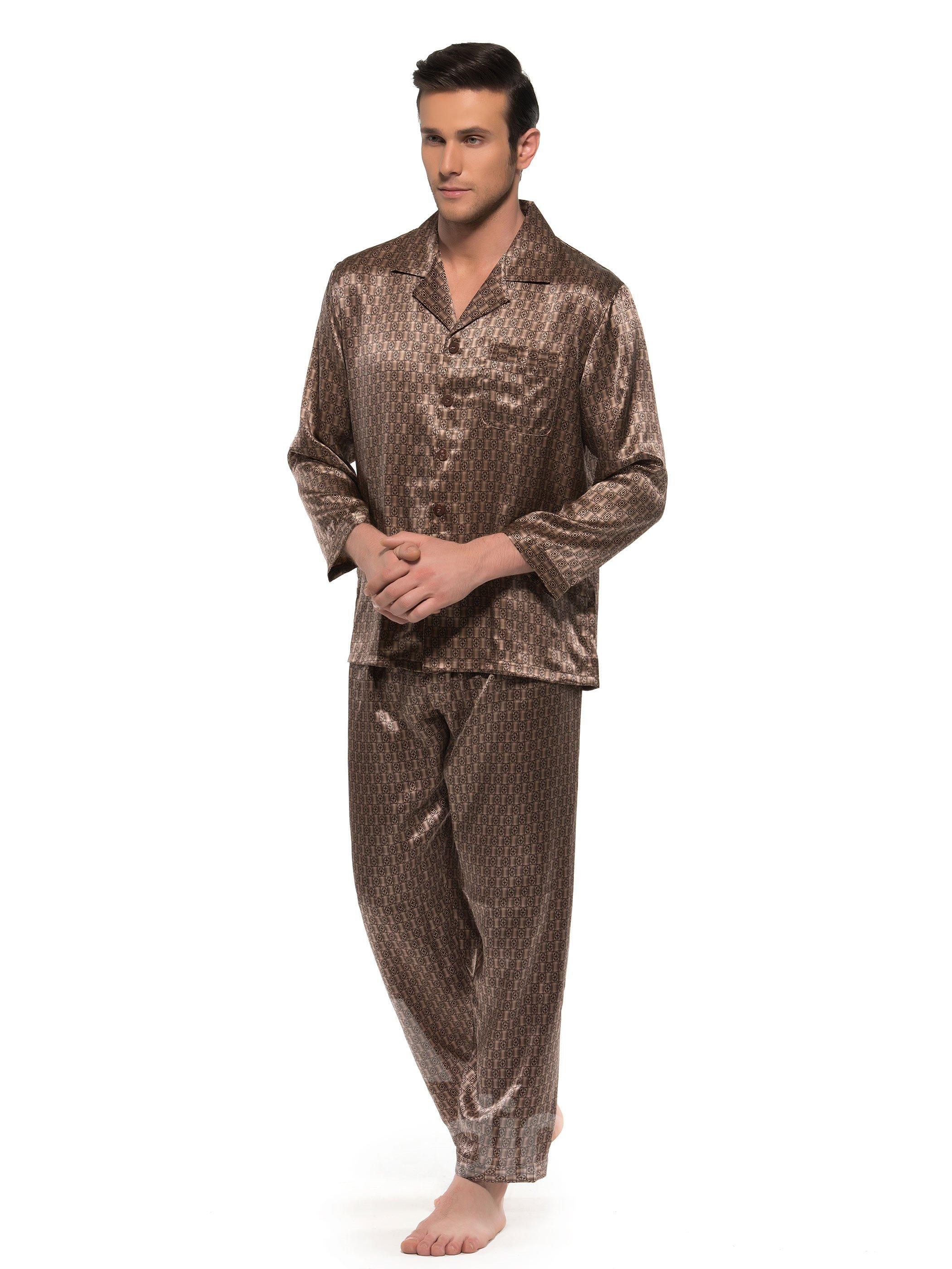 Elegant Bronze Checks Patterns Open Collar Long Sleeve Silk Pajamas