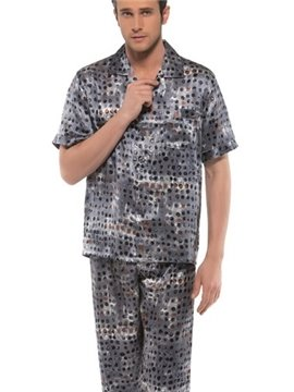 Elegant Subtle Pebbles Patterns Open Collar Half Sleeve Silk Pajamas
