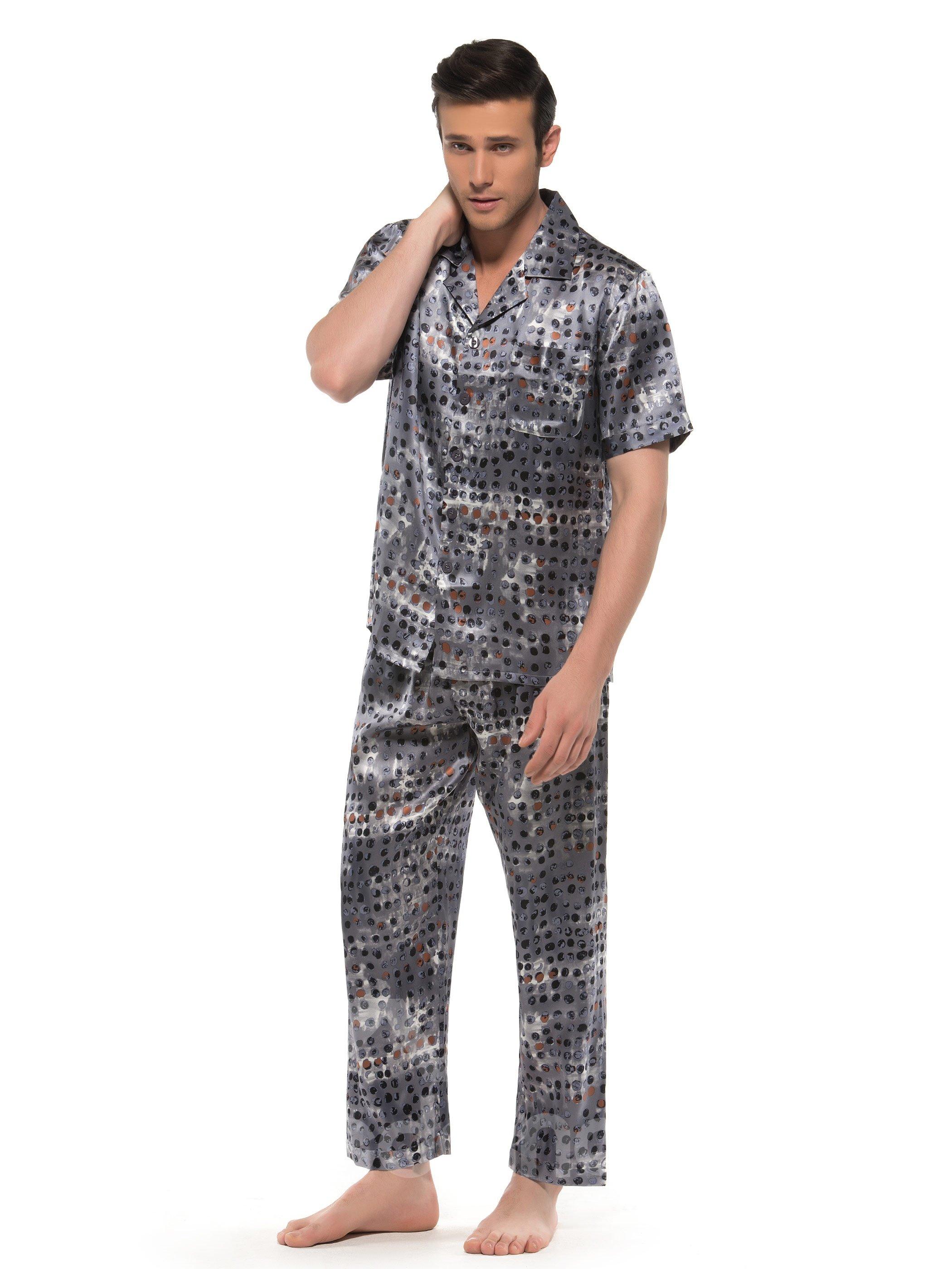 Elegant Subtle Pebbles Patterns Open Collar Half Sleeve Silk Pajamas