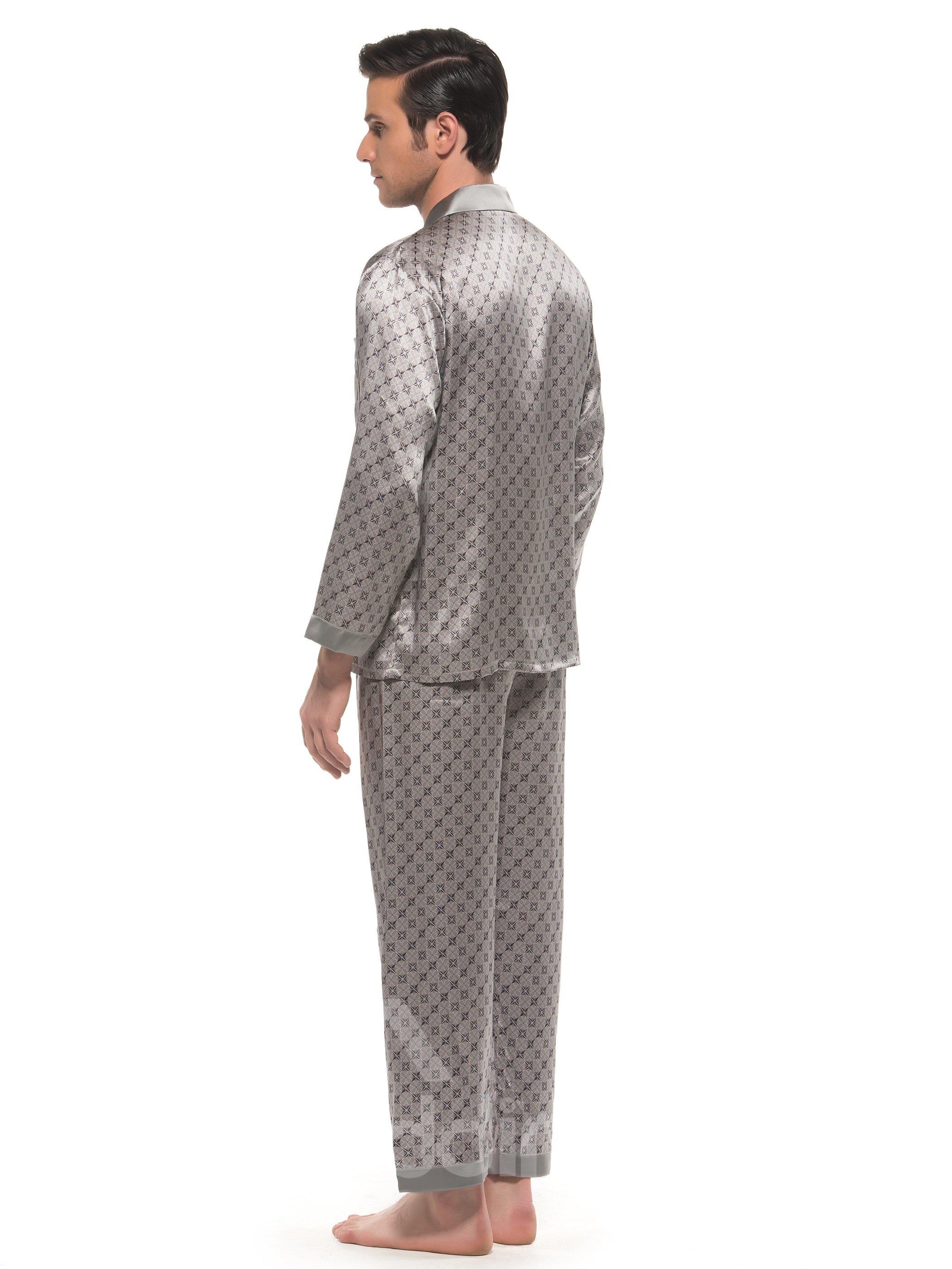 Elegant Stylish Patterns Open Collar One Pocket Long Sleeve Silk Pajamas