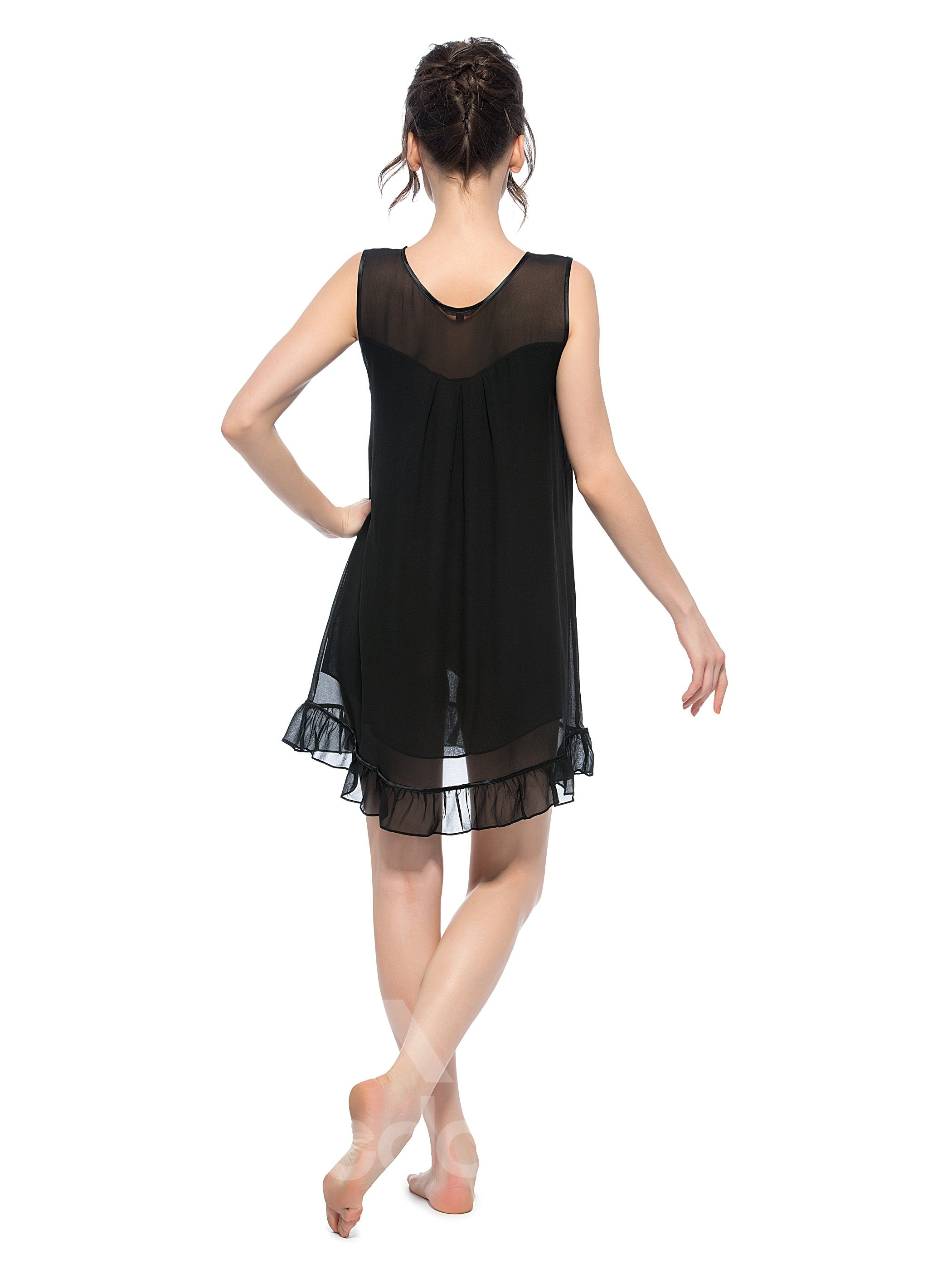 Cinderella Hot Black Lace Patch Shoulder Loose Fit Silk Nightgown