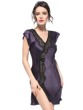 Gorgeous Lace Trim V-Neck and Back One Side Vent Silk Nightgown