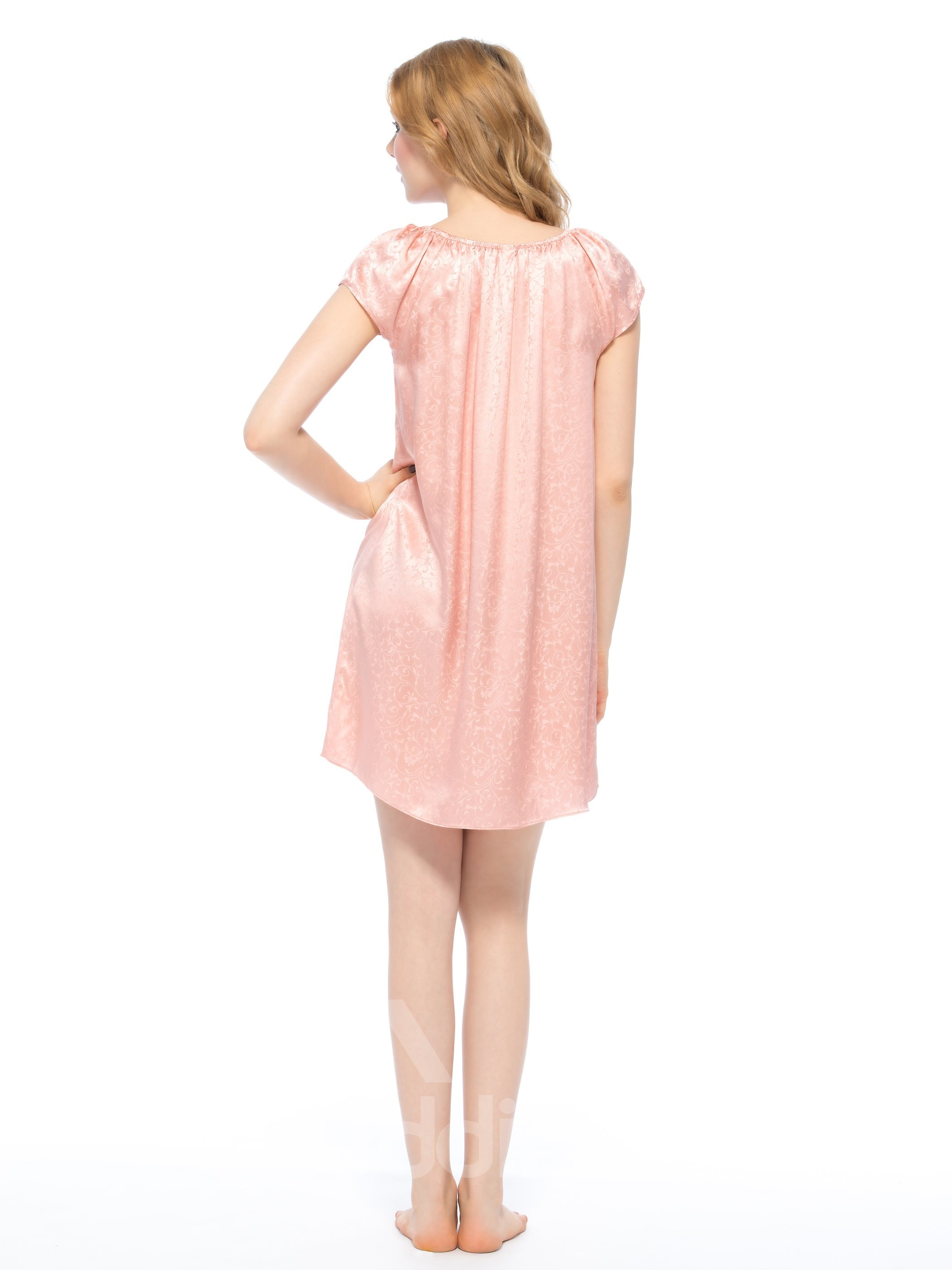 Cute Elastic Neckline and Bust Floral Jacquard Silk Nightgown