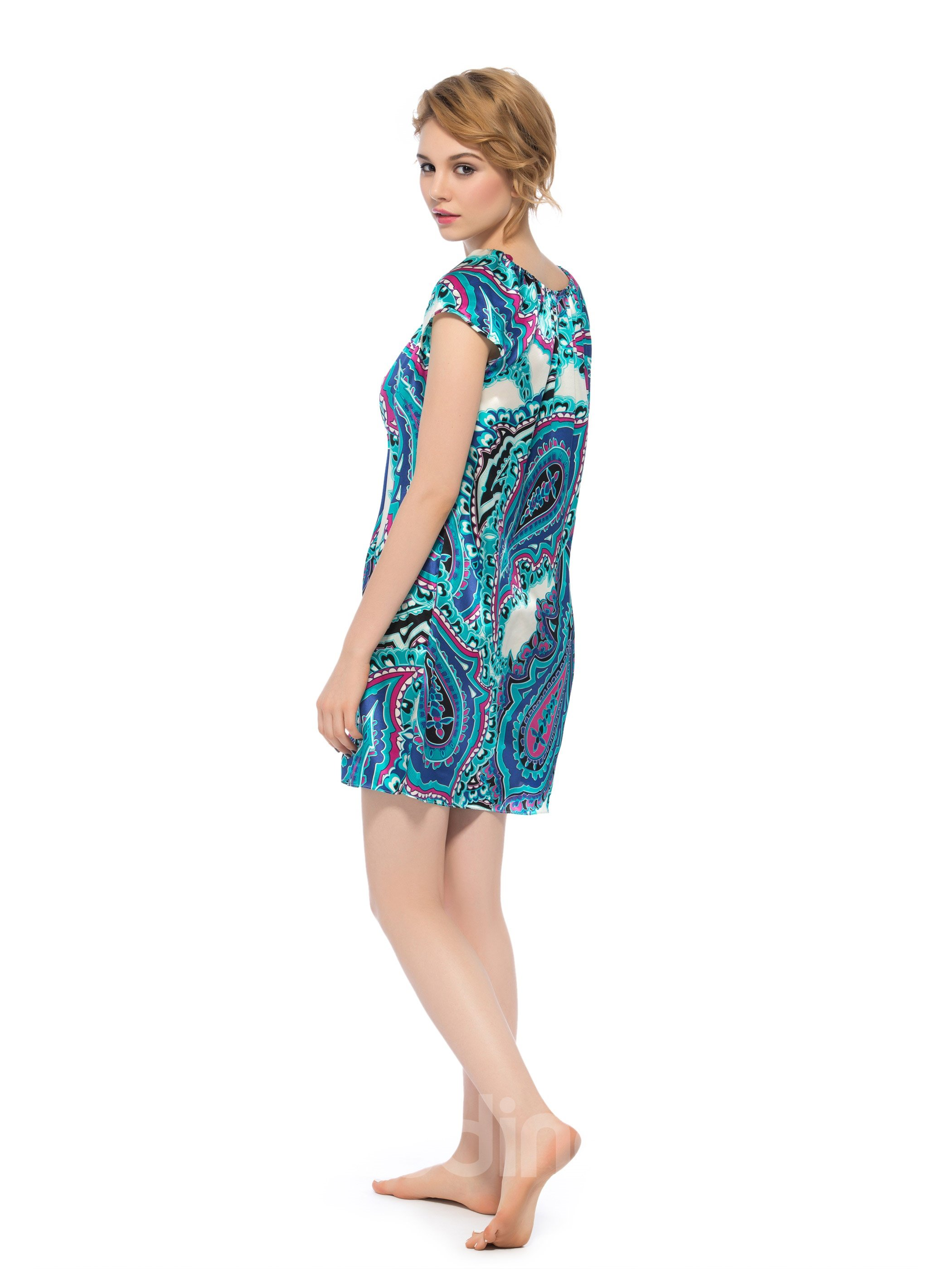 Beautiful Paisley Pattern Stretch Neckline with Cute Bowknot Silk Nightgown