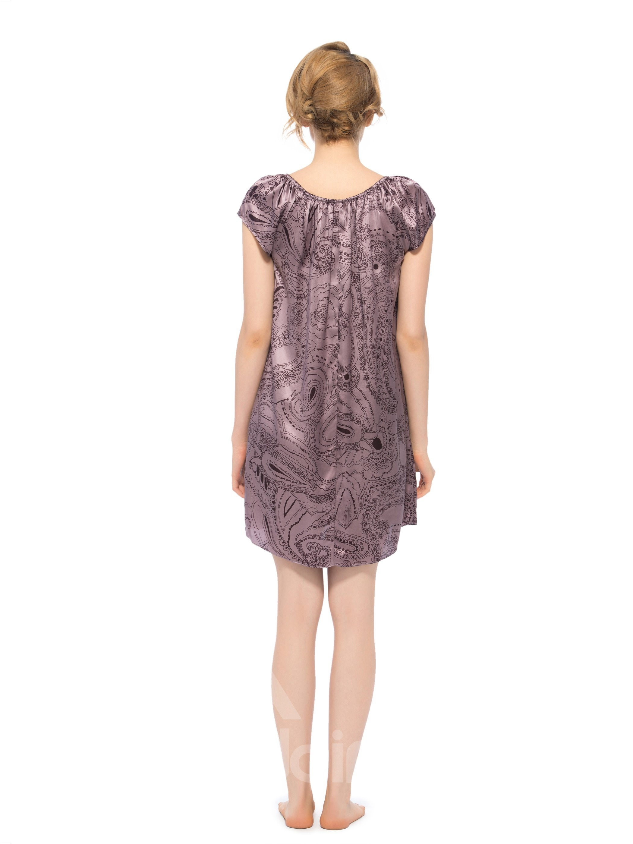 Noble Abstract Floral Pattern Stretch Neckline Silk Nightgown