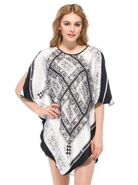 Unique Black and White Square Pattern Uneven Hem Silk Nightgown
