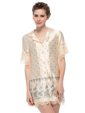 Lace Edged Short Sleeves Floral Pattern Silk Sleepshirt