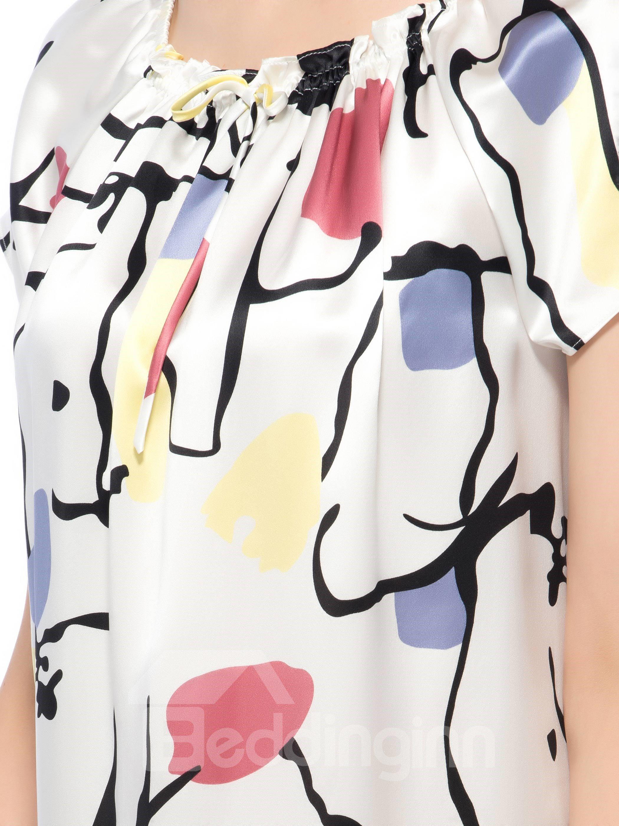 Minimalist Stretch Neckline Flouncing Hem Silk Nightgown