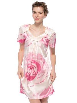 Excellent Pink Rose Flower Print 1Piece Pullover Silk Nightgown