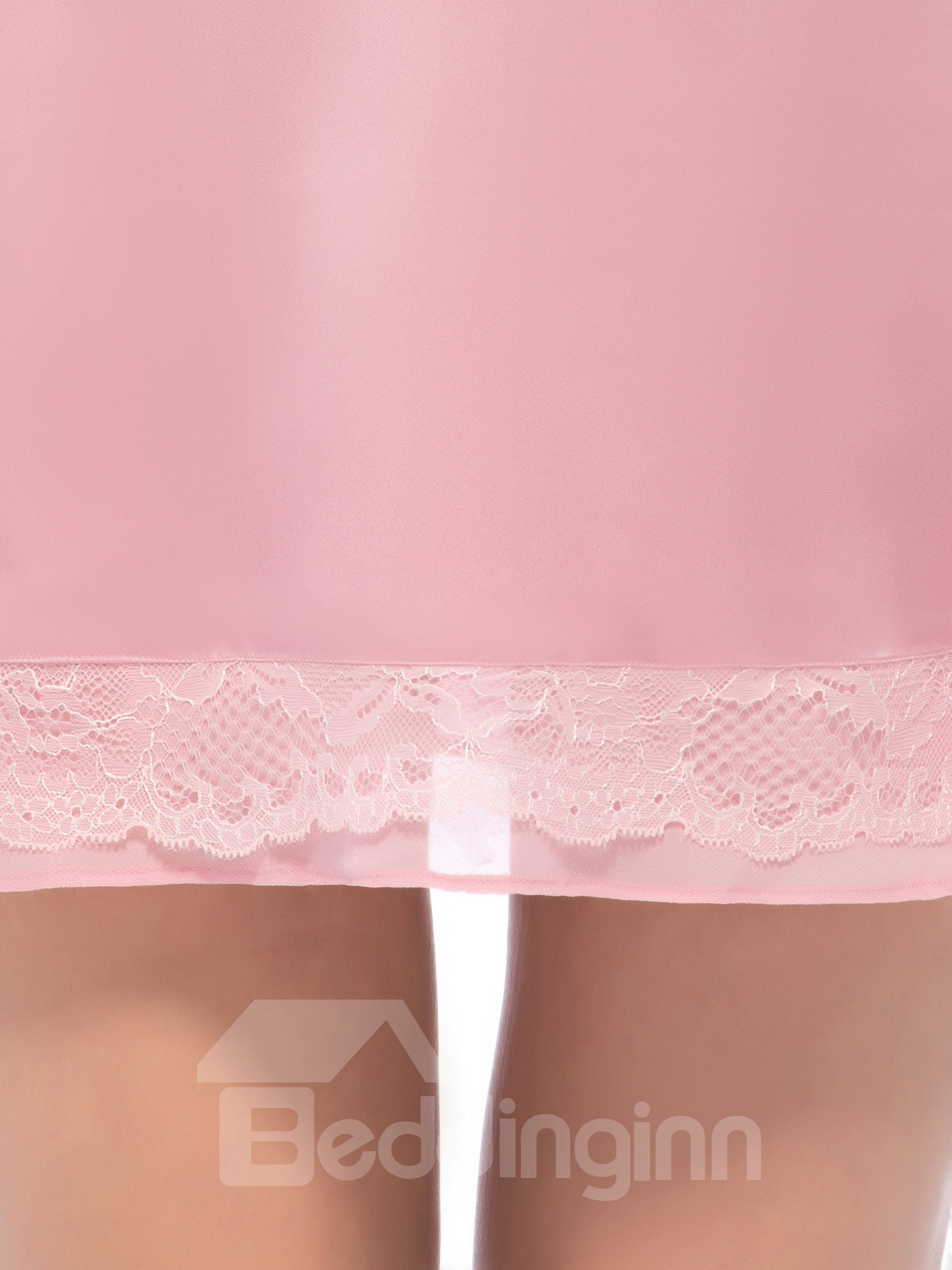 Sweet Pink V-Neck Lace Trim Silk Nightgown