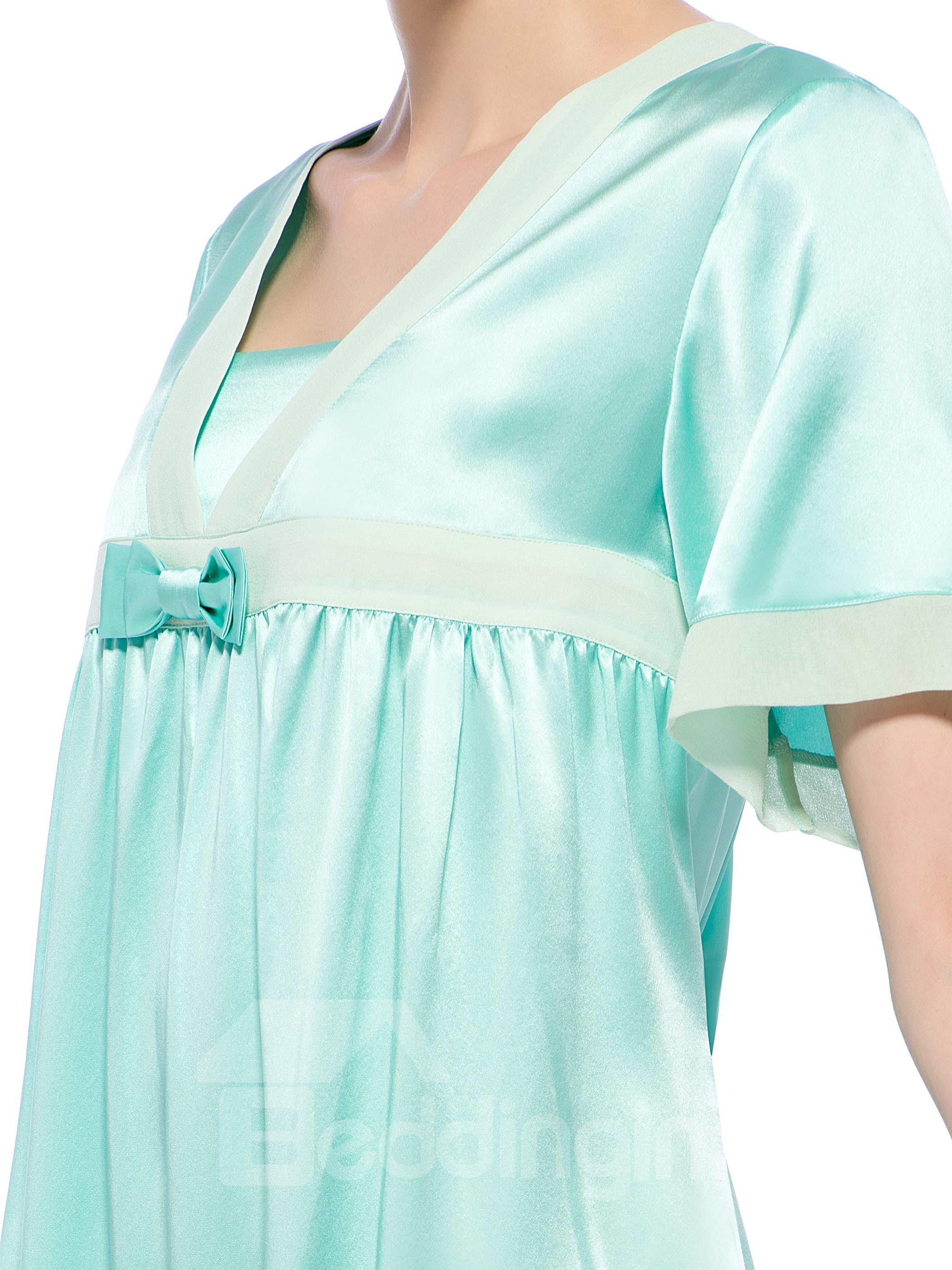 Cinderella Light Green Bowknot Trim Bust Short Sleeves Silk Nightgown