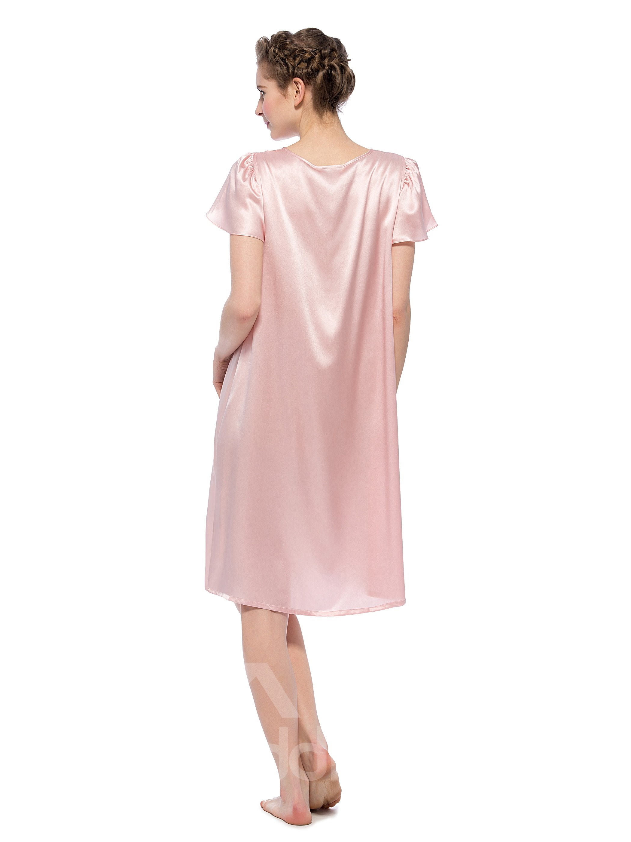 Scoop Neck With Sheer Fabric Mid-length Silk Nightgown
