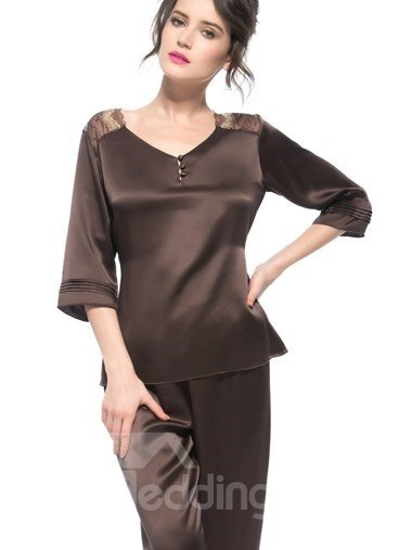 Wonderful Pretty Brown Lace Patched Shoulder Banded Cuffs Silk Pajamas