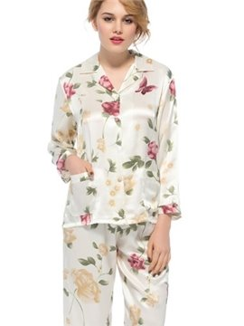 Wonderful Notched Collar Long Sleeves Graceful Sillk Pajamas