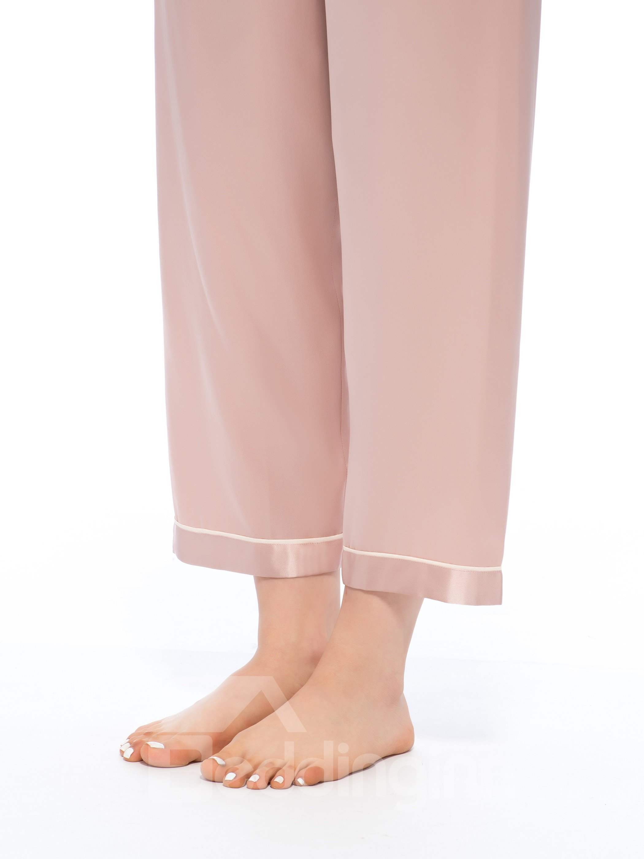 New Classic Contrast Trim Scoop Neck and Banded Cuffs Pajamas